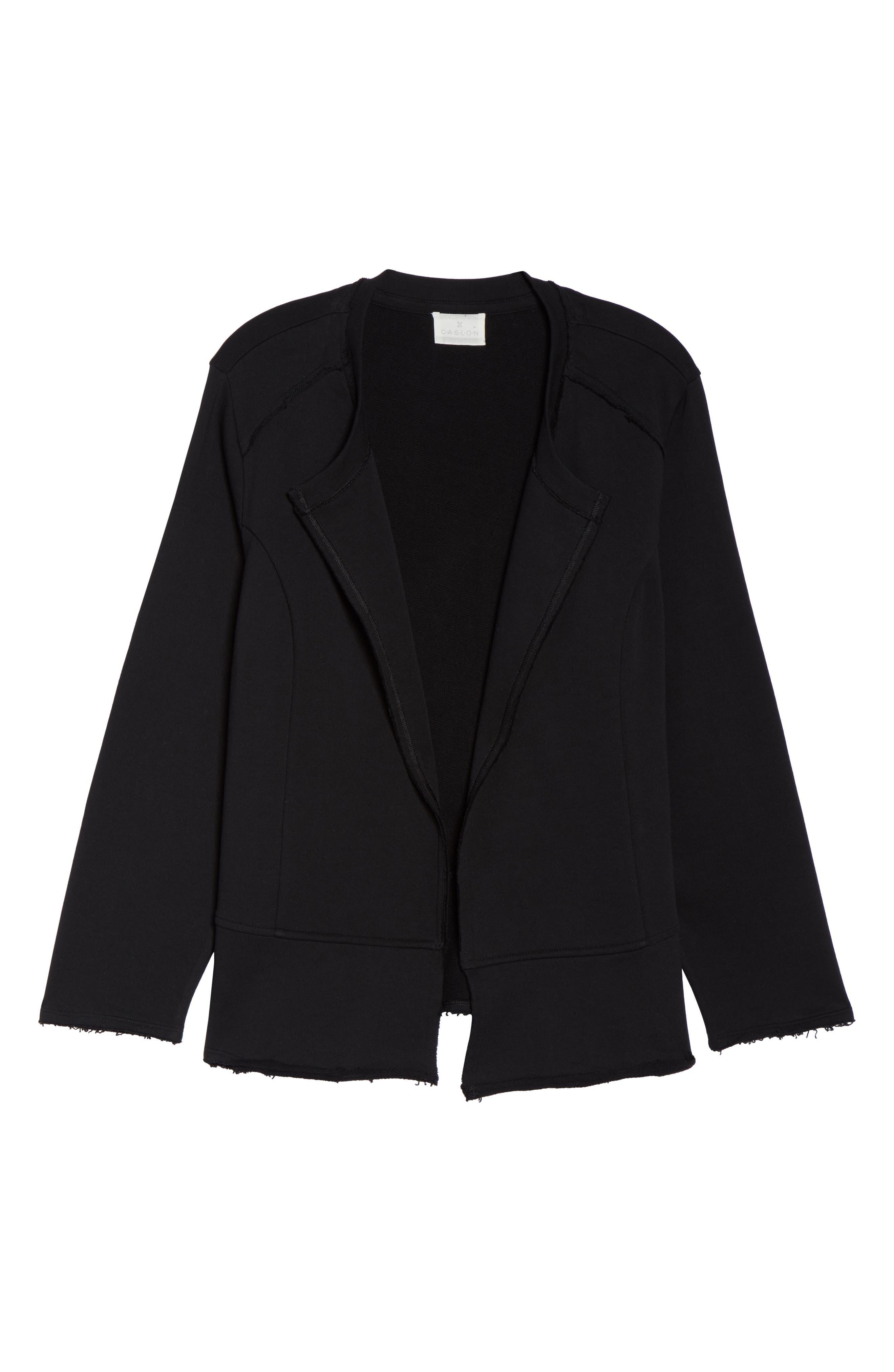Knit Peplum Jacket,                             Alternate thumbnail 7, color,                             Black