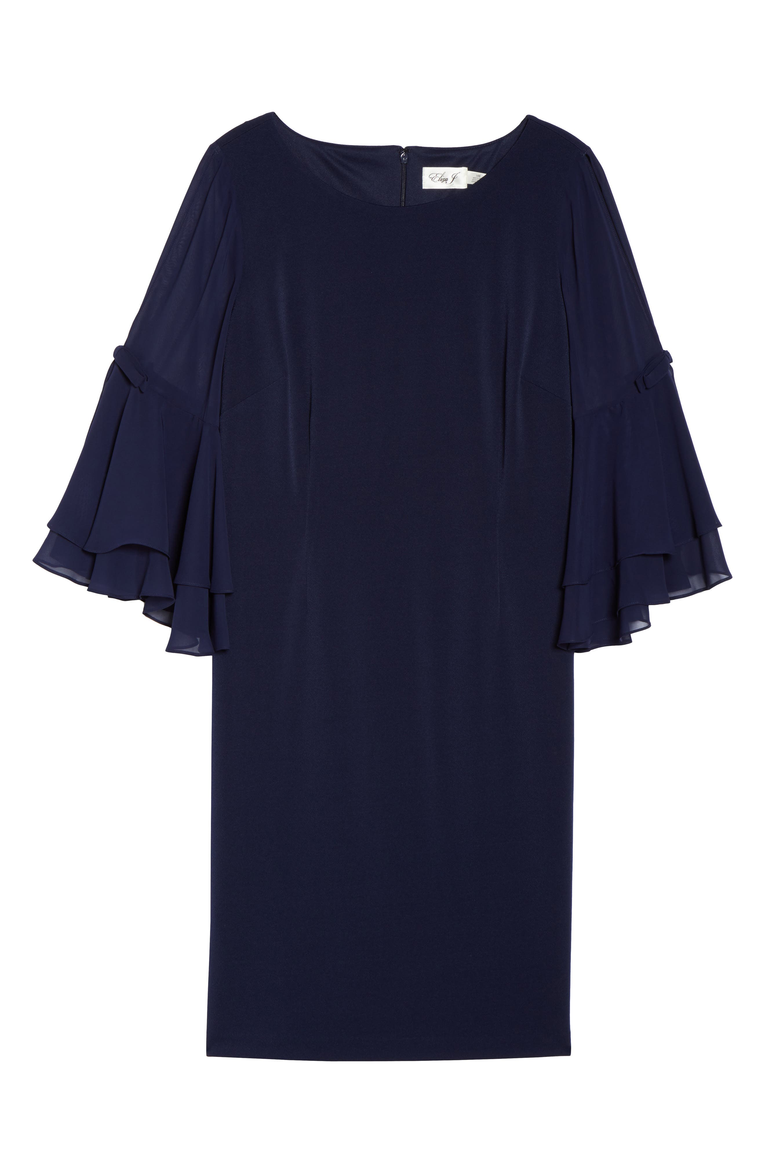 Bow Sleeve Chiffon Shift Dress,                             Alternate thumbnail 6, color,                             Navy