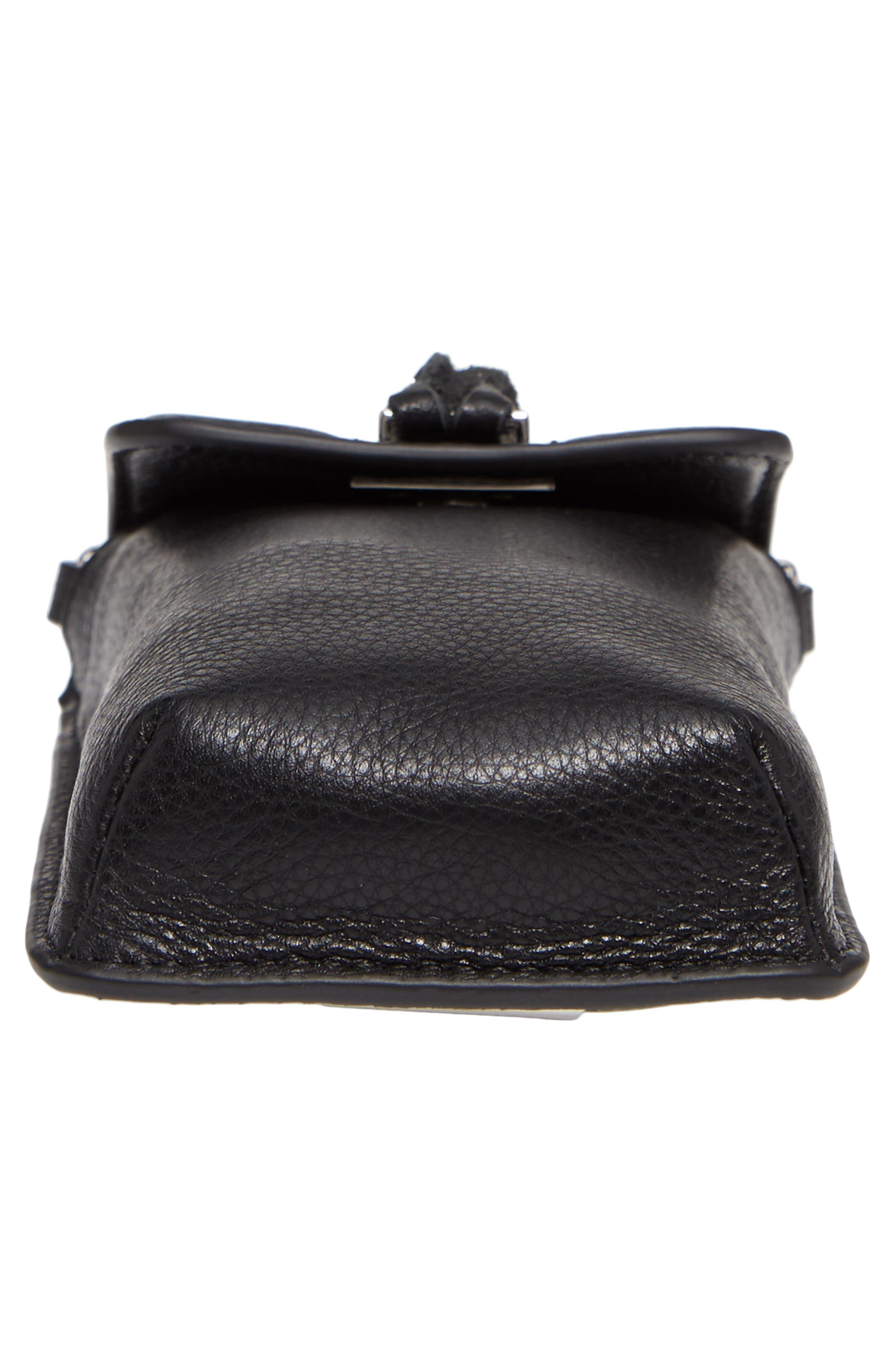 Darren Leather Phone Crossbody Bag,                             Alternate thumbnail 6, color,                             Black