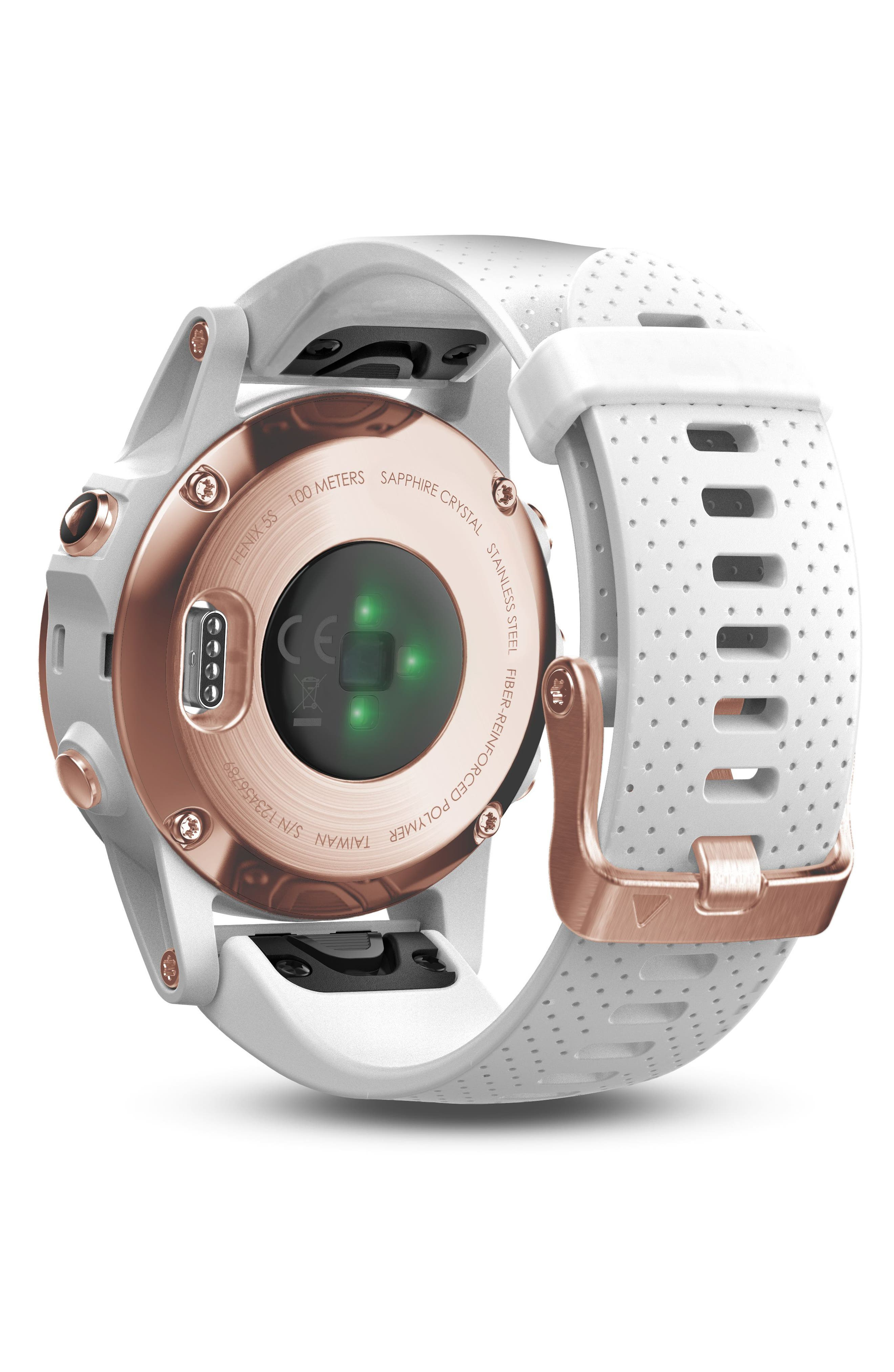 fenix<sup>®</sup> 5s Sapphire Multisport GPS Smart Tracker Silicone Strap Watch, 42mm,                             Alternate thumbnail 2, color,                             White/ Rose Gold Sapphire
