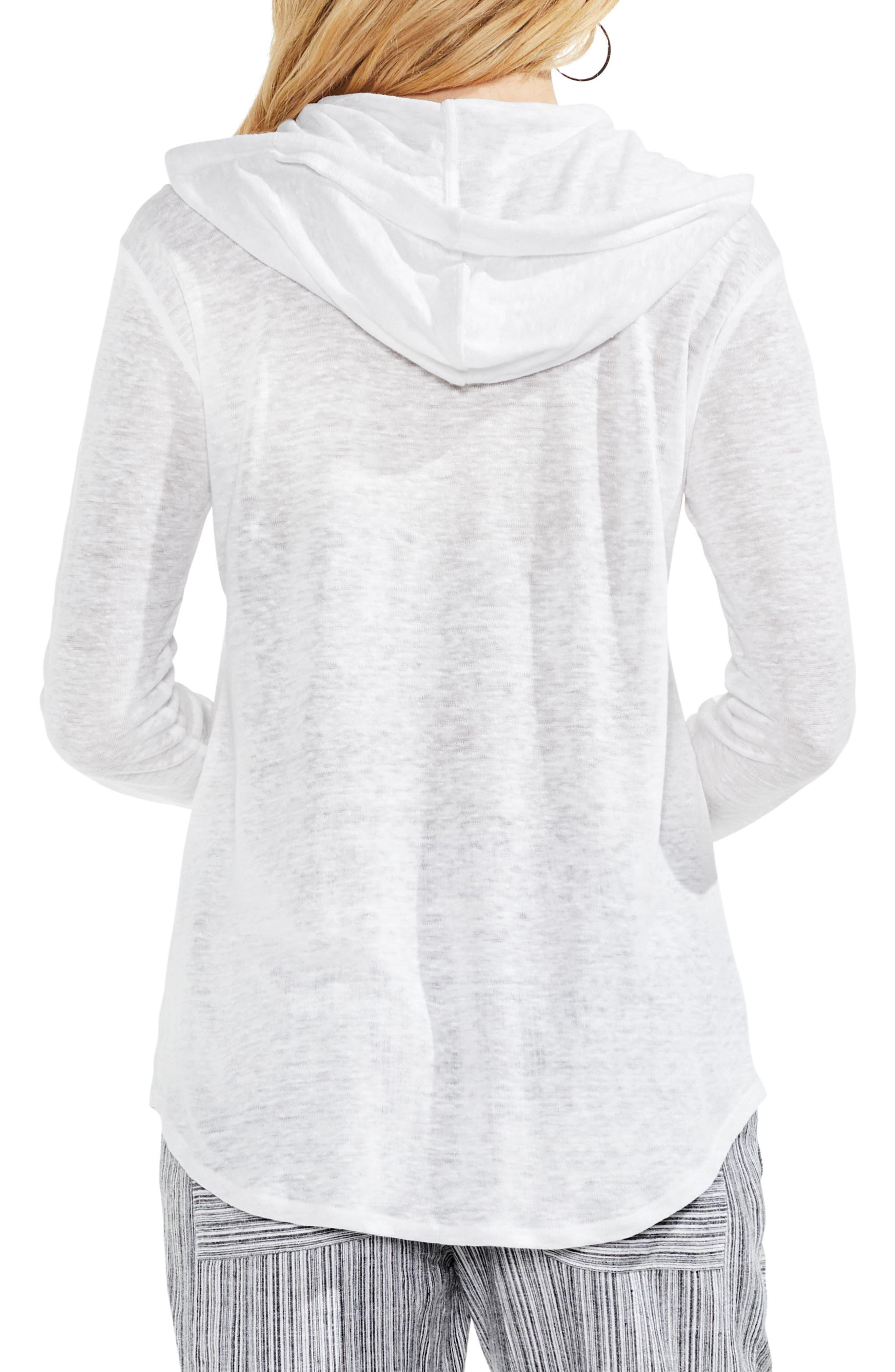 Linen Hoodie,                             Alternate thumbnail 2, color,                             Ultra White