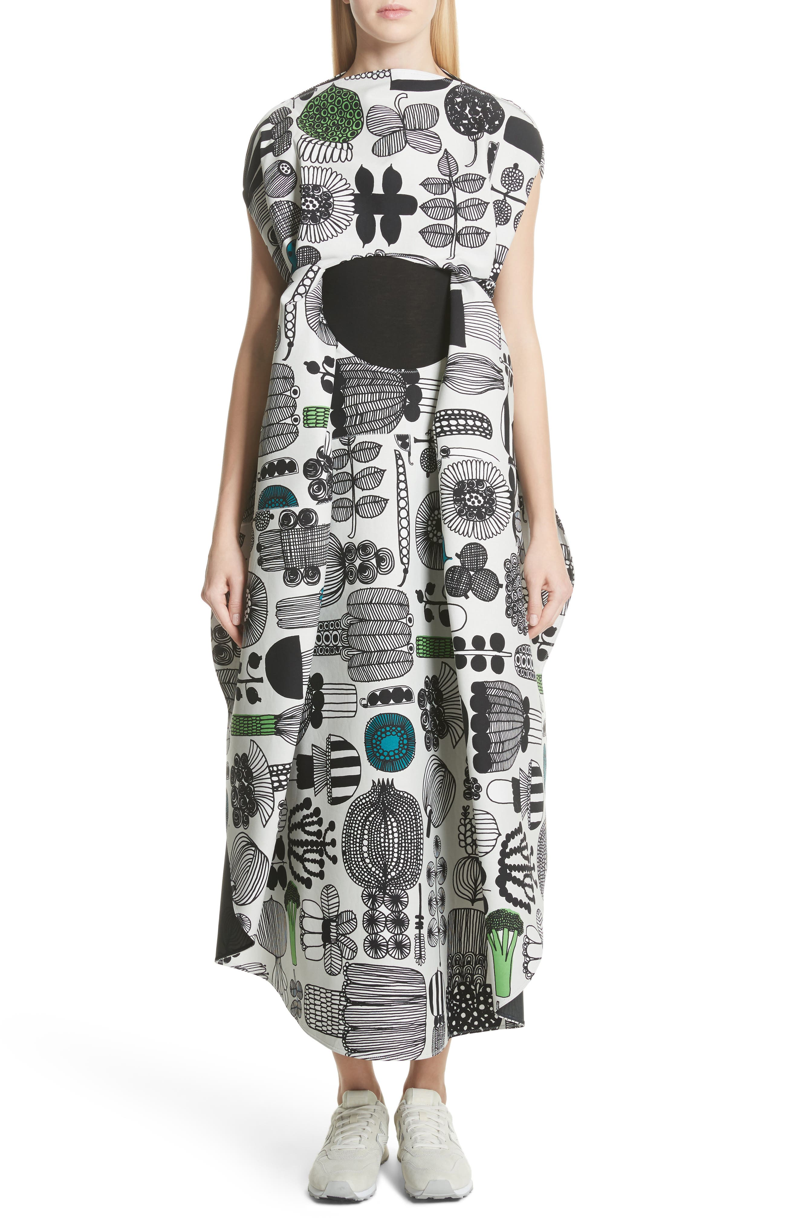 Vegetable Print Shift Dress,                         Main,                         color, Gry/ Grn/ Blk