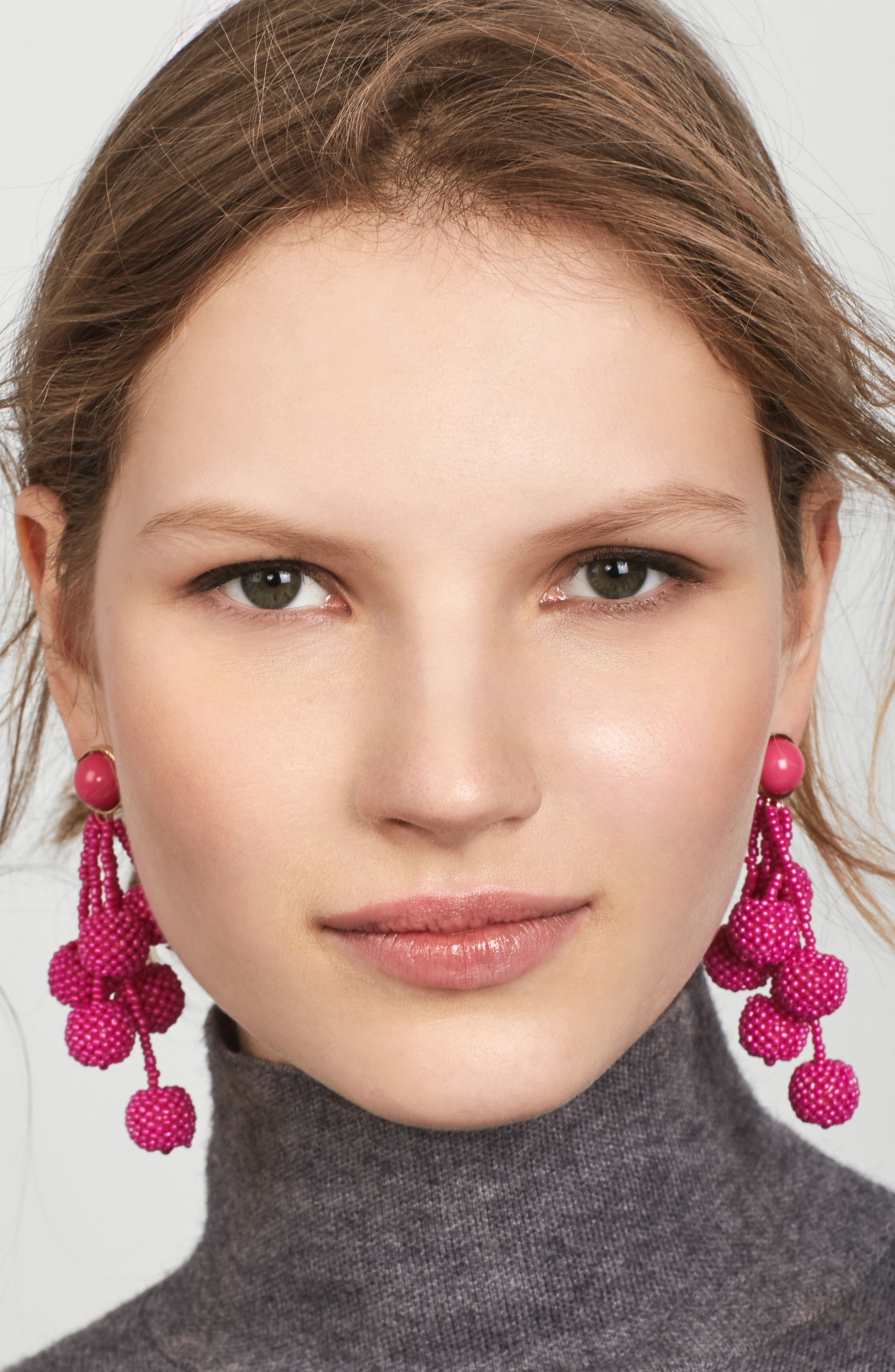 Coretta Updated Cocoa Drop Earrings,                             Alternate thumbnail 2, color,                             Hot Pink