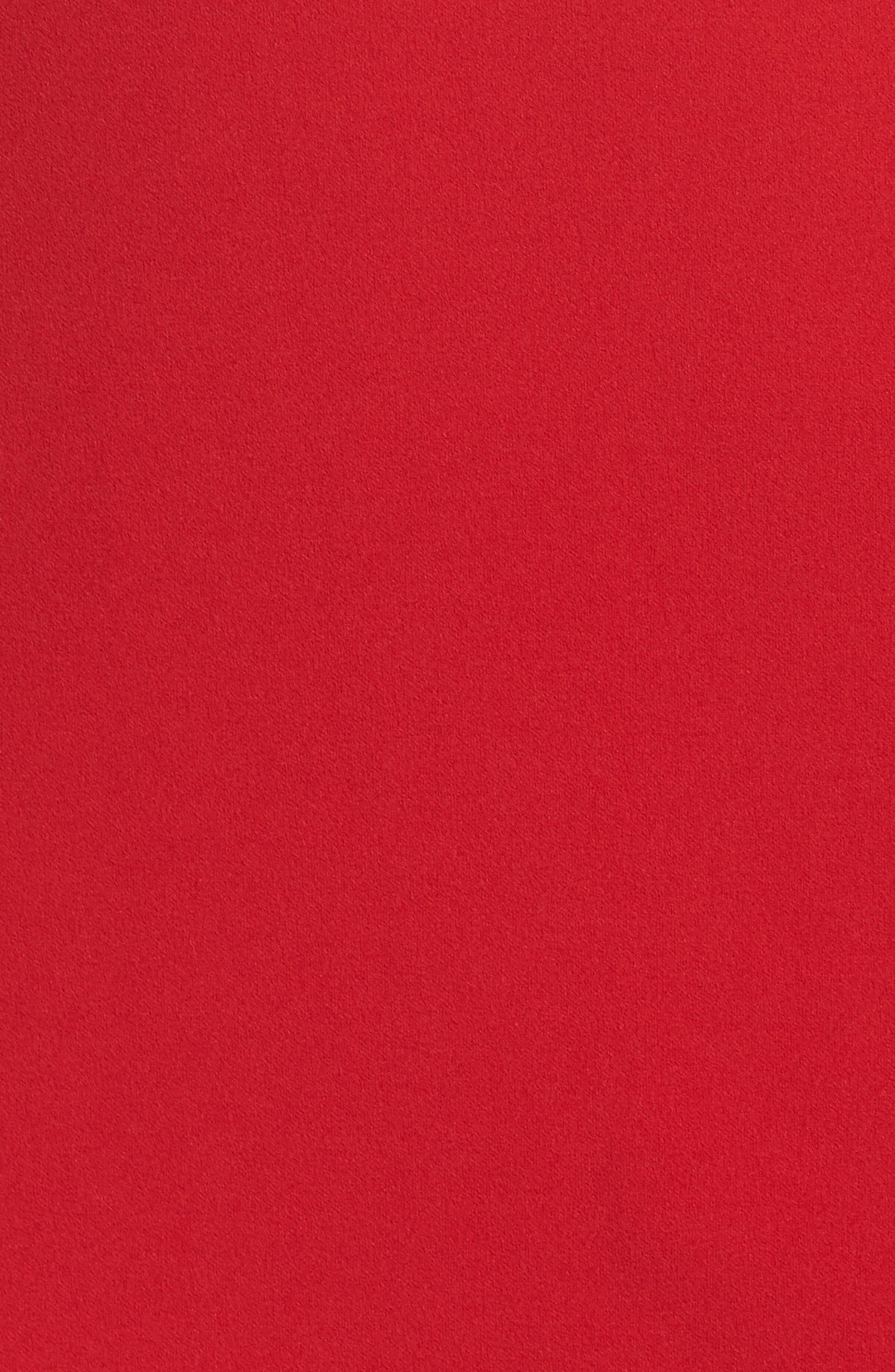 Ruffle One-Shoulder Scuba Body-Con Dress,                             Alternate thumbnail 5, color,                             Red