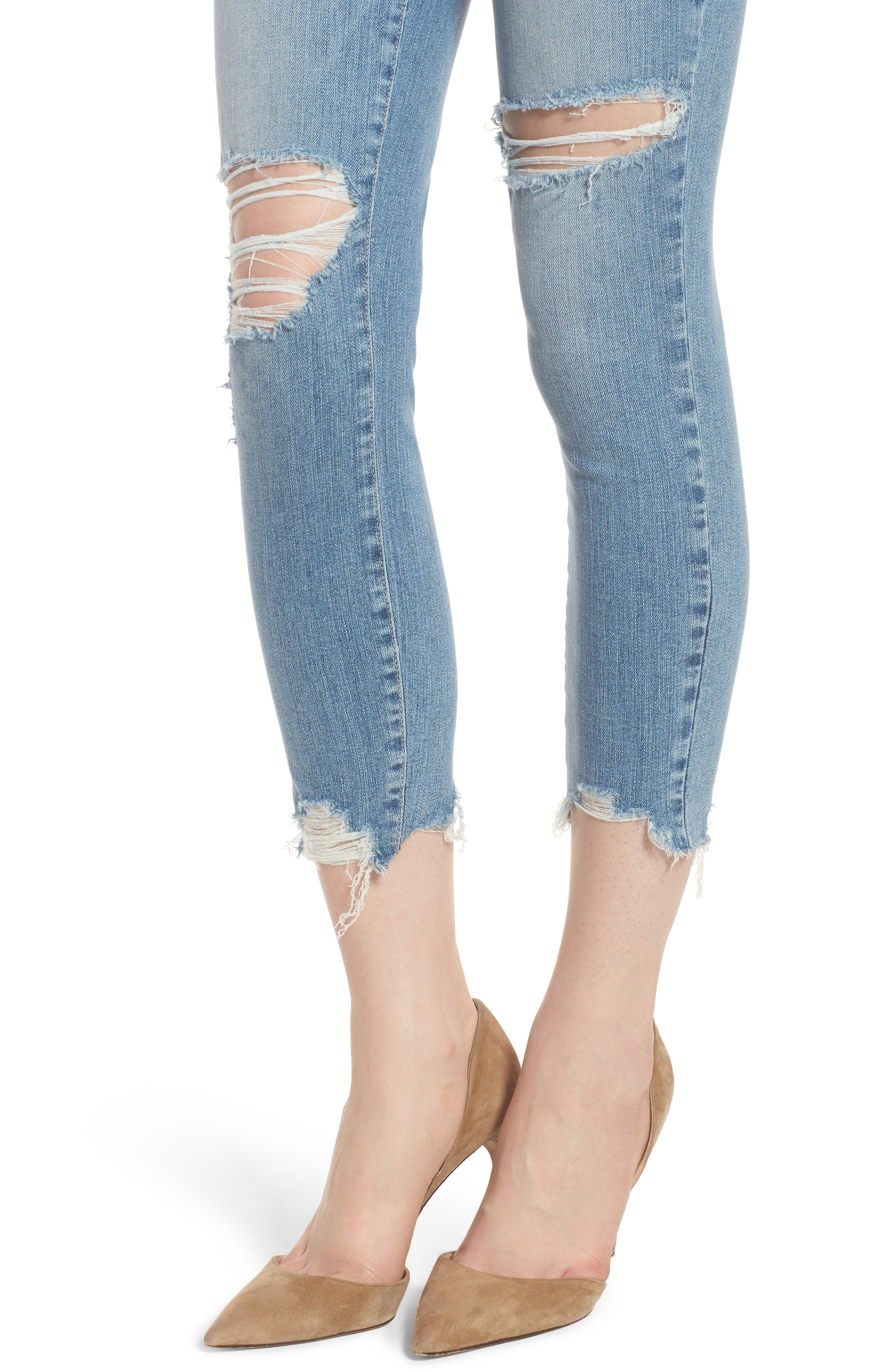 Verdugo Ripped Crop Ultra Skinny Jeans,                             Alternate thumbnail 4, color,                             Janis Destructed