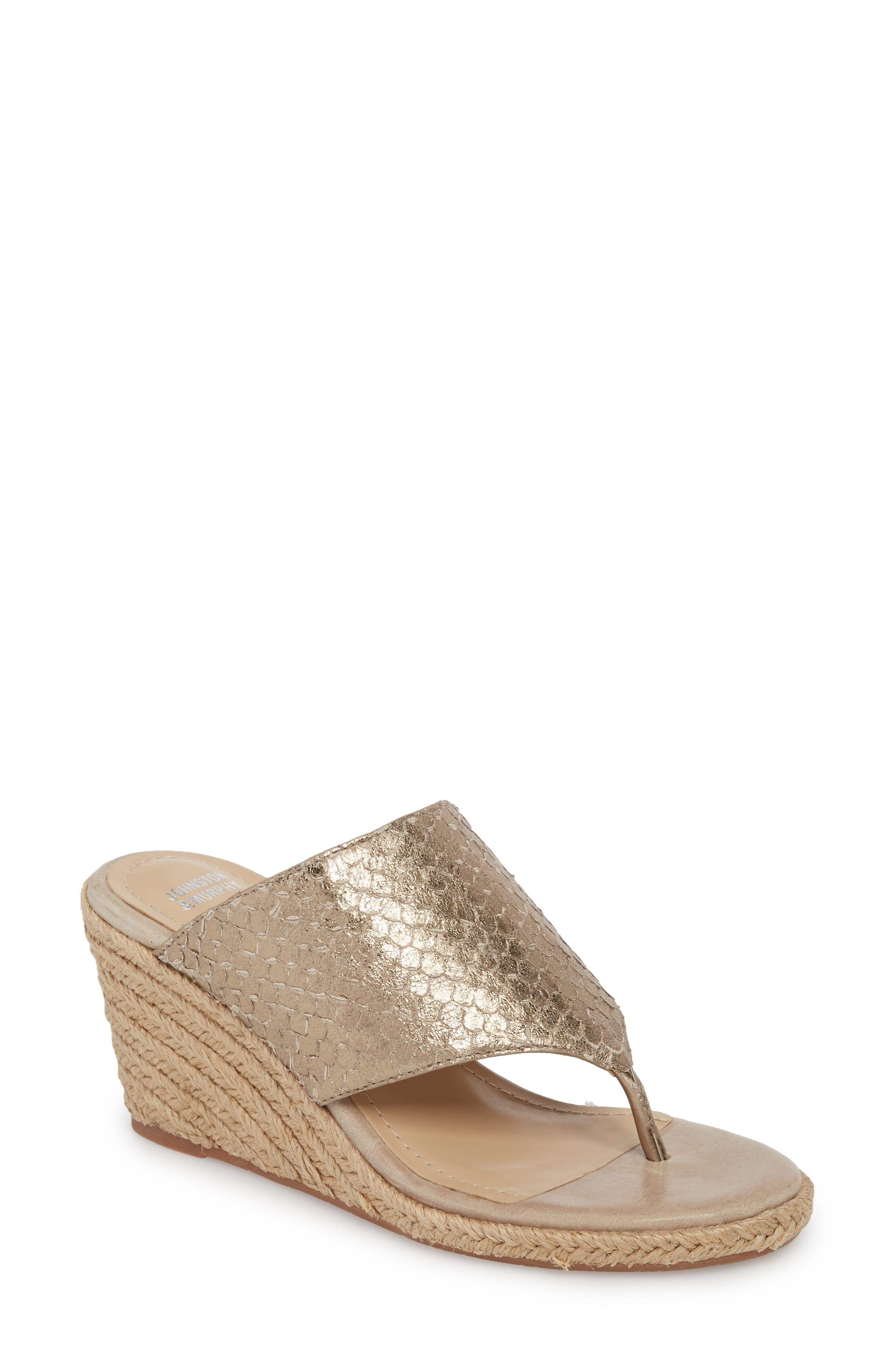 Gretchen Wedge Mule,                         Main,                         color, Pewter Metallic Print Leather