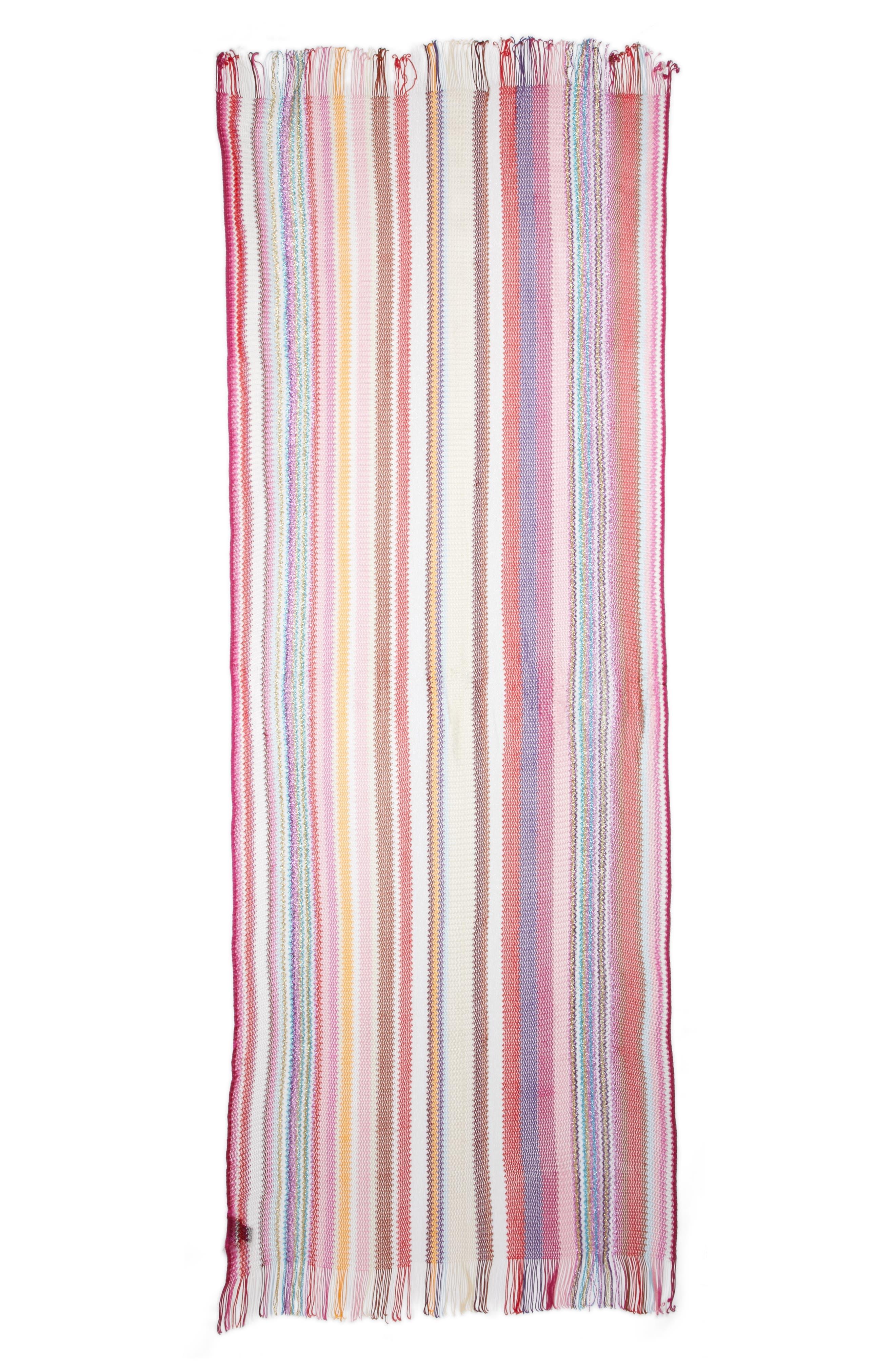 Zigzag Stripe Stole,                             Main thumbnail 1, color,                             Multi Pink