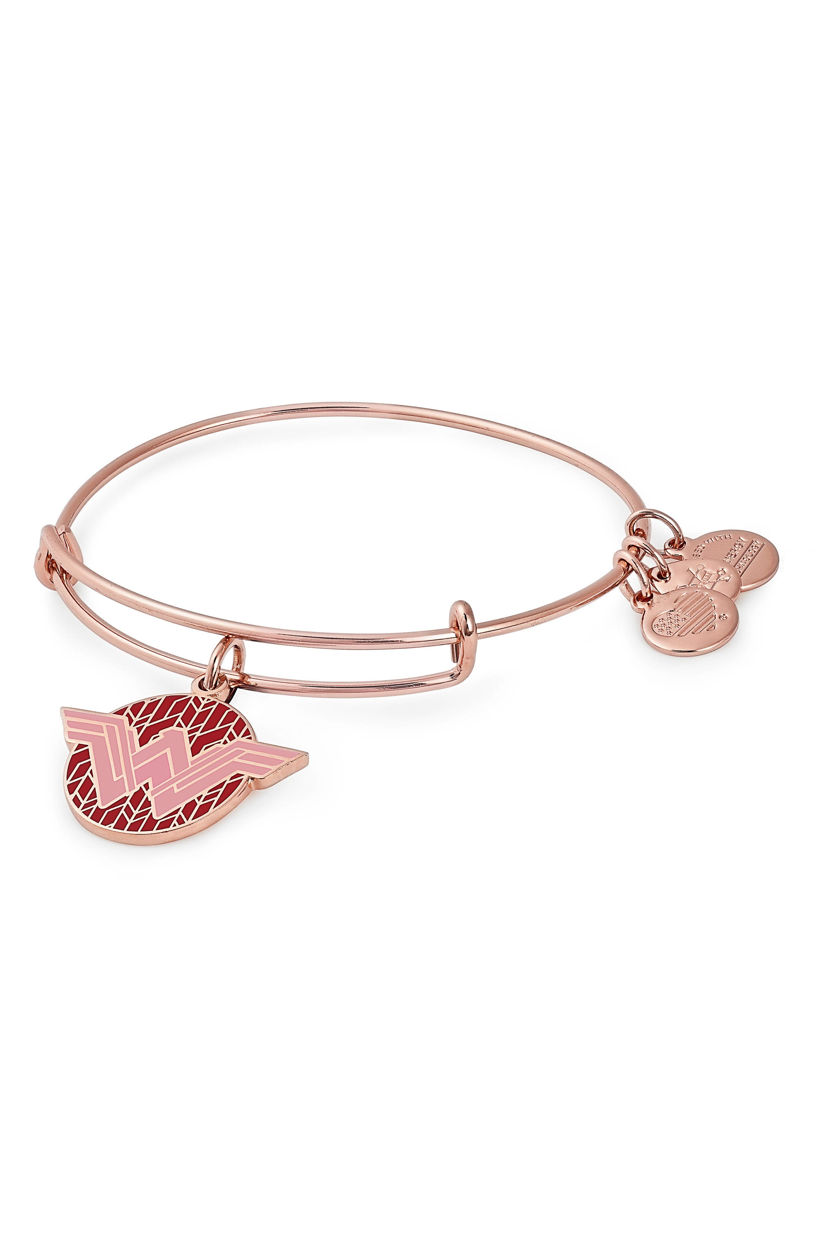 Wonder Woman Color Infusion Charm Bangle,                         Main,                         color, Rose Gold