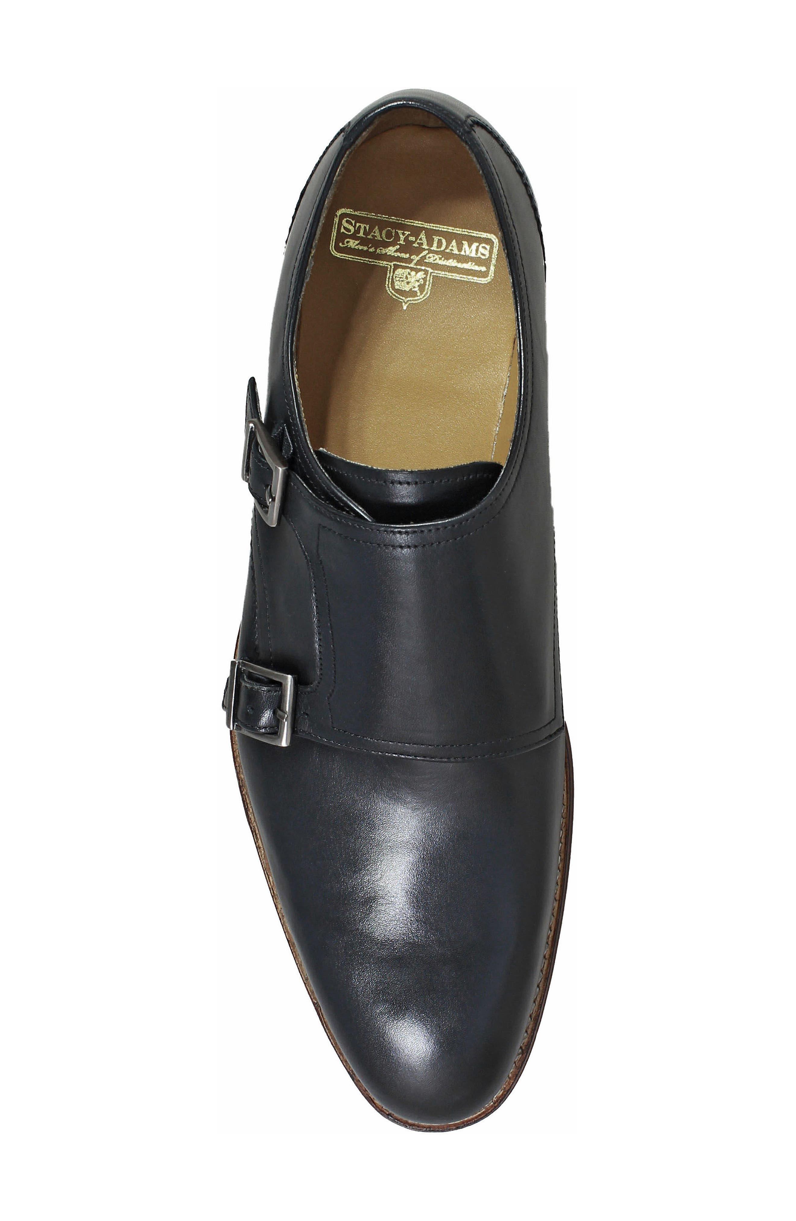M2 Plain Toe Double Strap Monk Shoe,                             Alternate thumbnail 5, color,                             Black Leather
