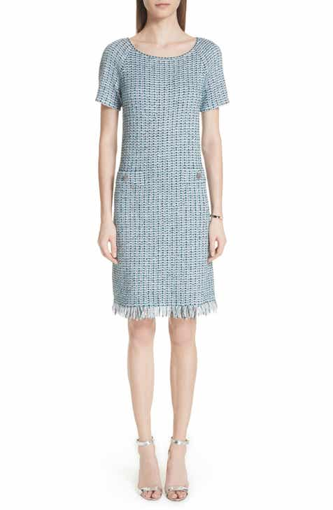 St John Collection Microstripe Checked Knit Dress