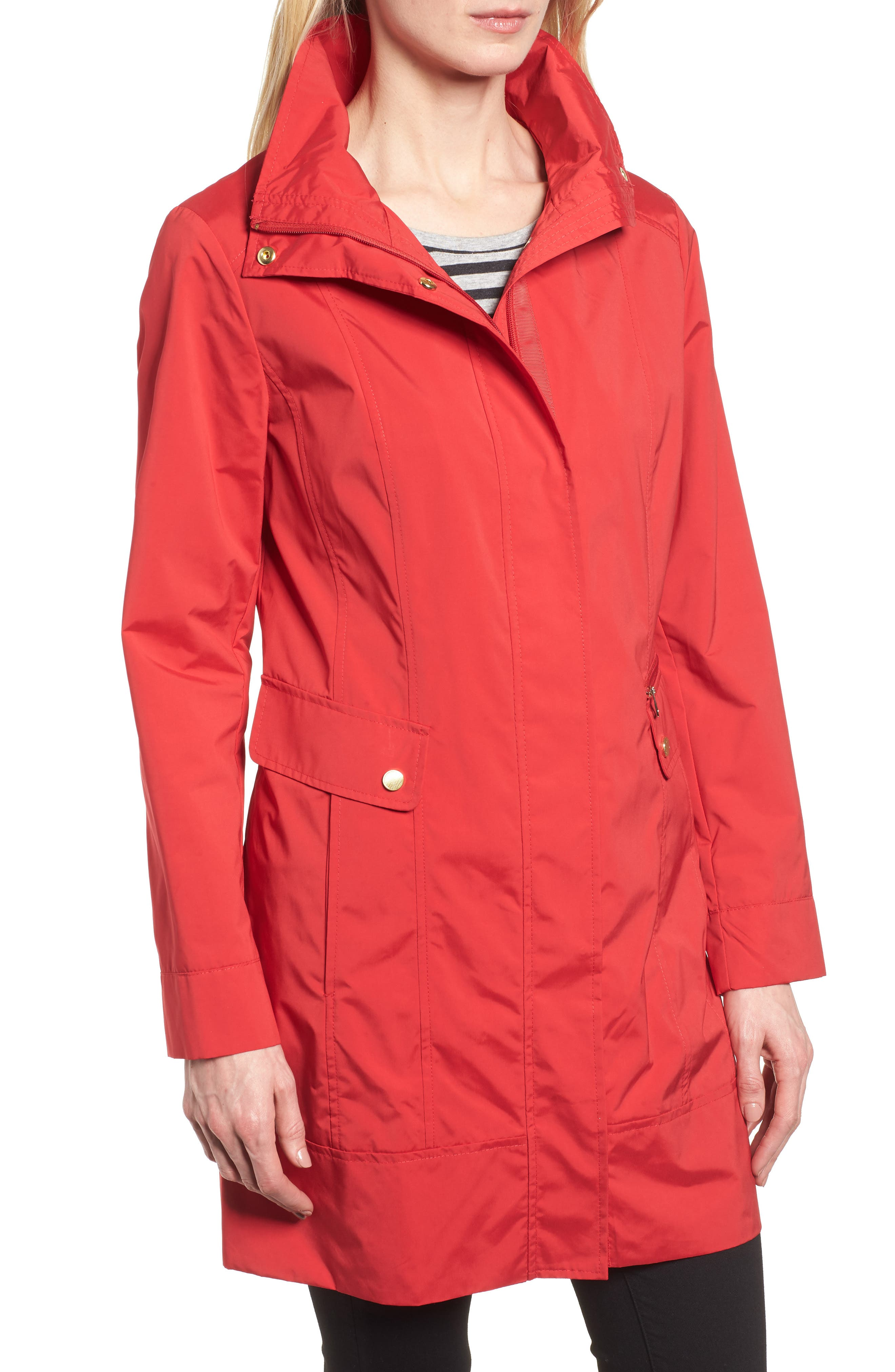 Back Bow Packable Hooded Raincoat,                             Alternate thumbnail 4, color,                             Red