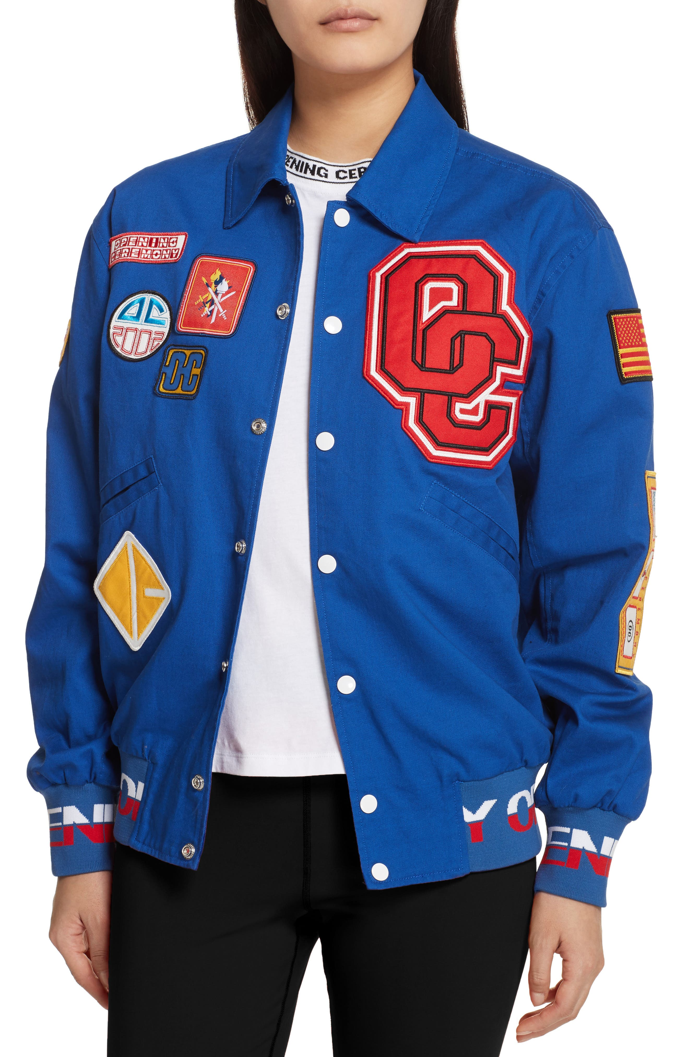 Patch Varsity Jacket,                             Alternate thumbnail 5, color,                             Railroad Blue
