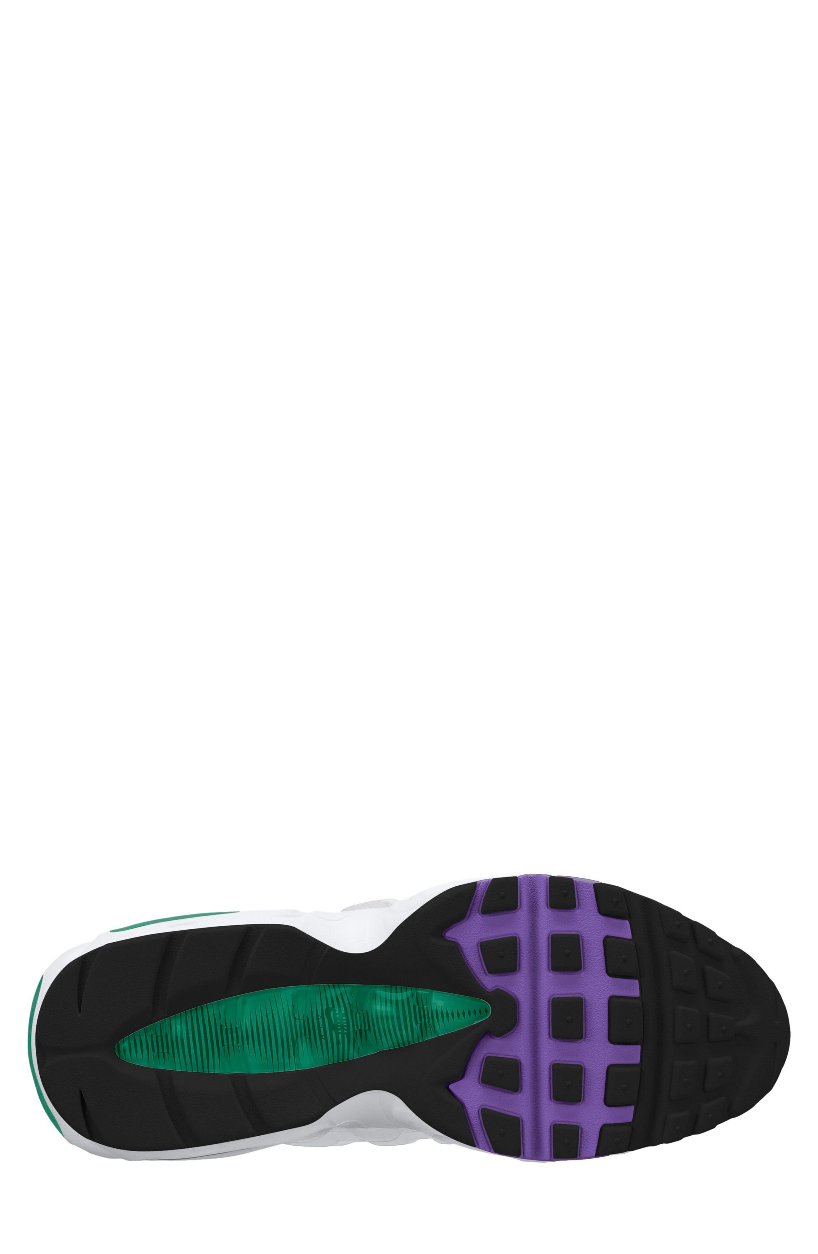 Air Max 95 Running Shoe,                             Alternate thumbnail 2, color,                             White/ Purple/ Emerald Green