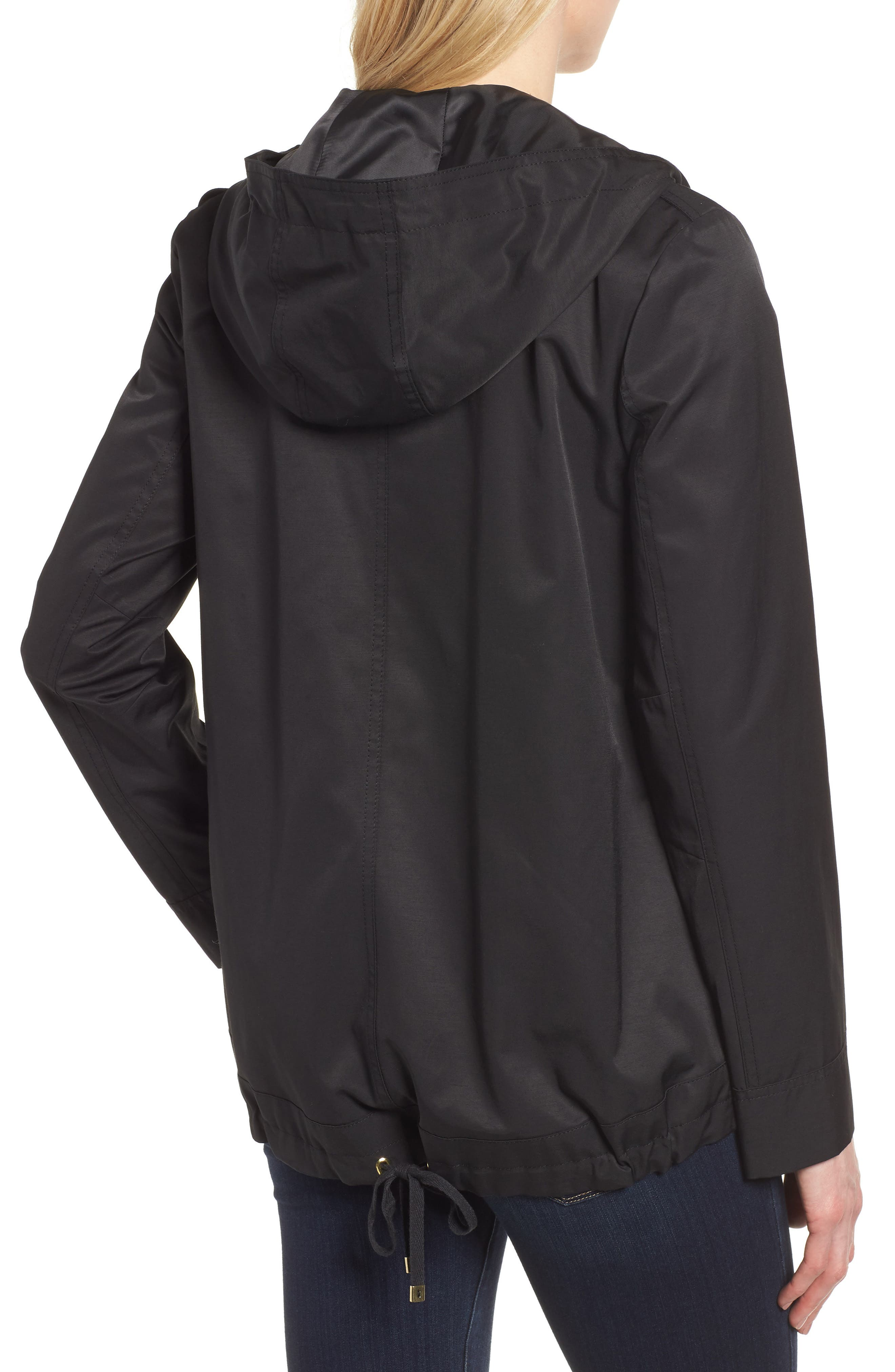 A-Line Jacket with Hood,                             Alternate thumbnail 2, color,                             Black