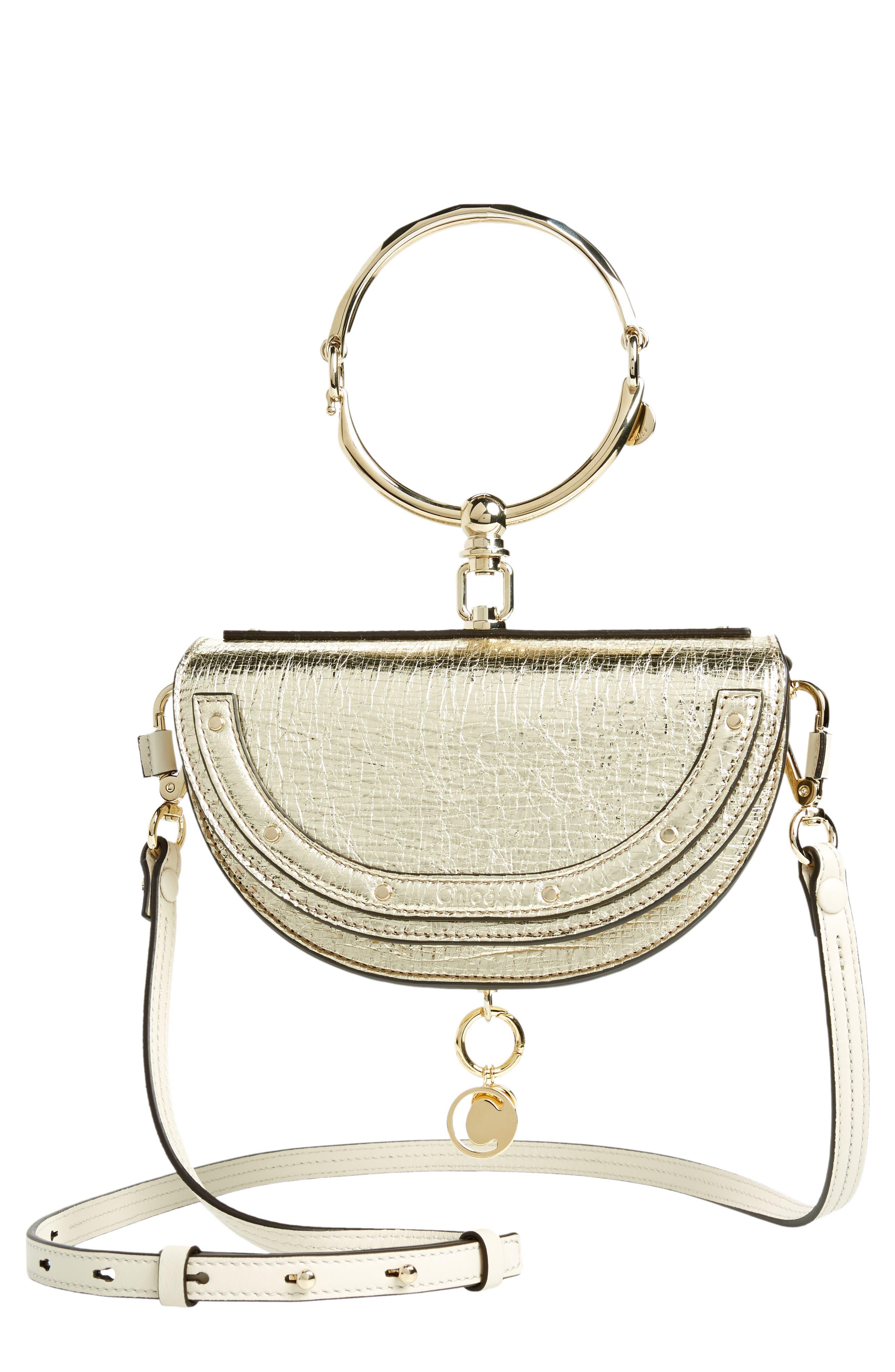Chloé Small Nile Bracelet Metallic Calfskin Leather Minaudière