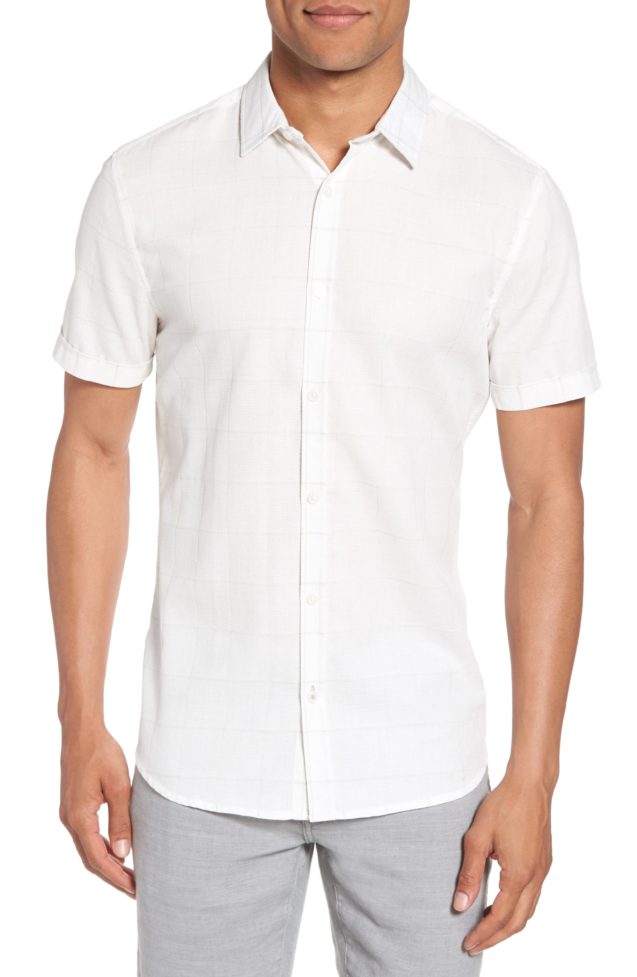 Vince Camuto Slim Fit Windowpane Short Sleeve Sport Shirt