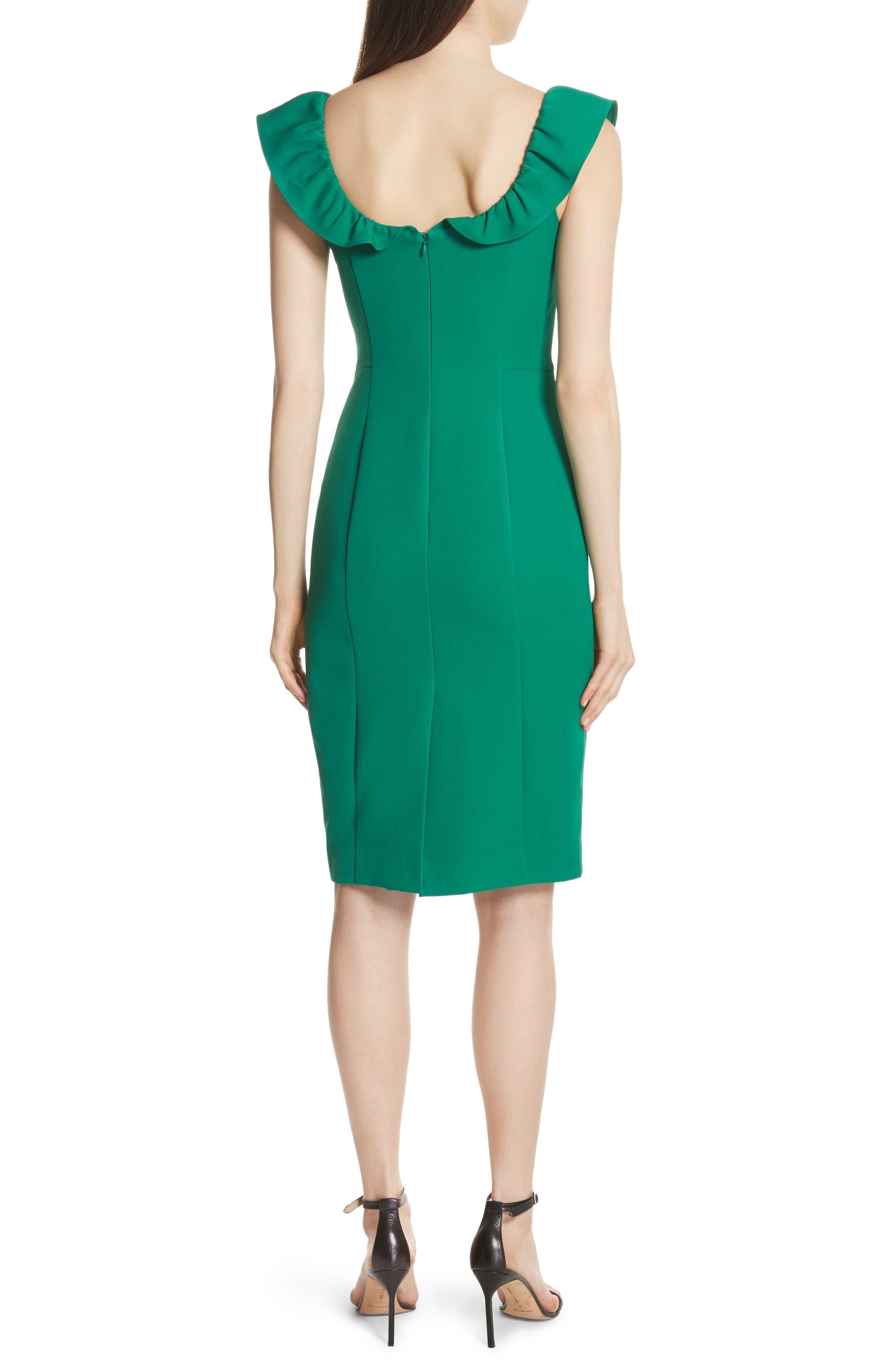Savannah Ruffle Stretch Crepe Minidress,                             Alternate thumbnail 2, color,                             Emerald
