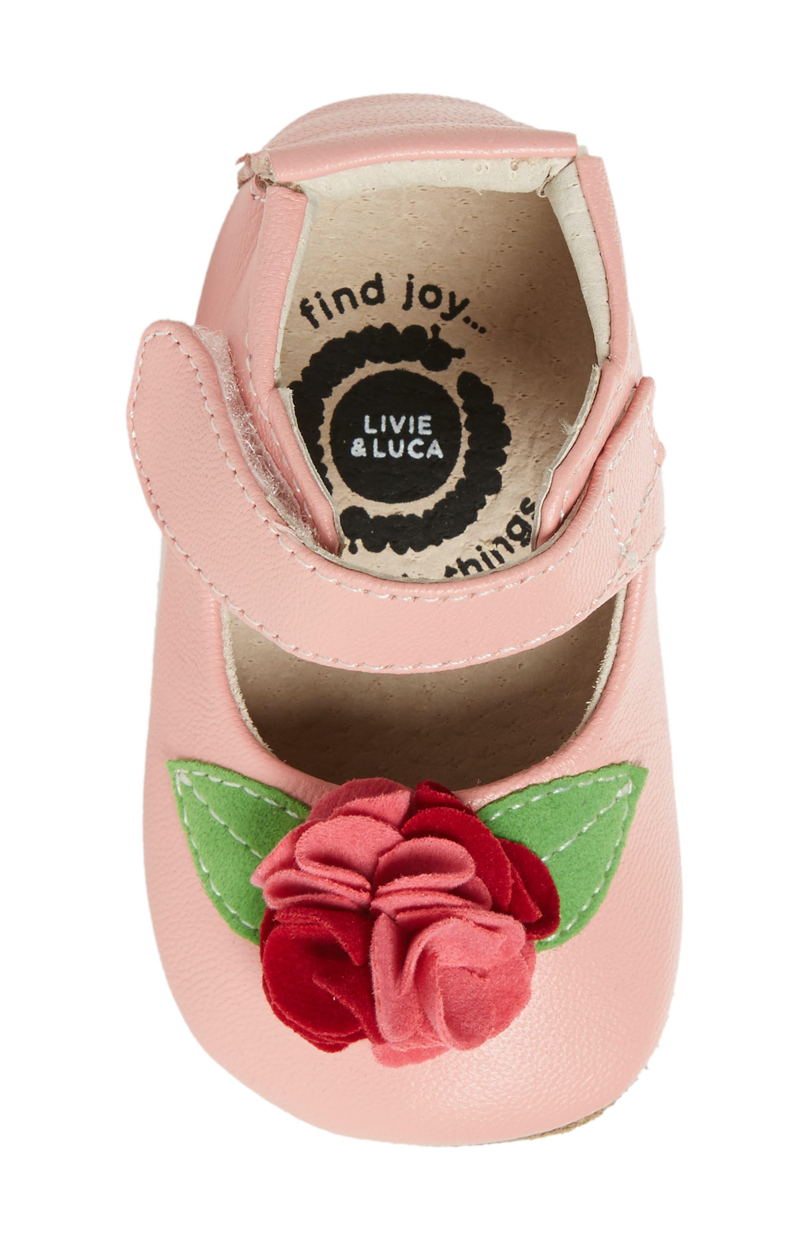 Rosa Mary Jane Crib Shoe,                             Alternate thumbnail 5, color,                             Light Pink