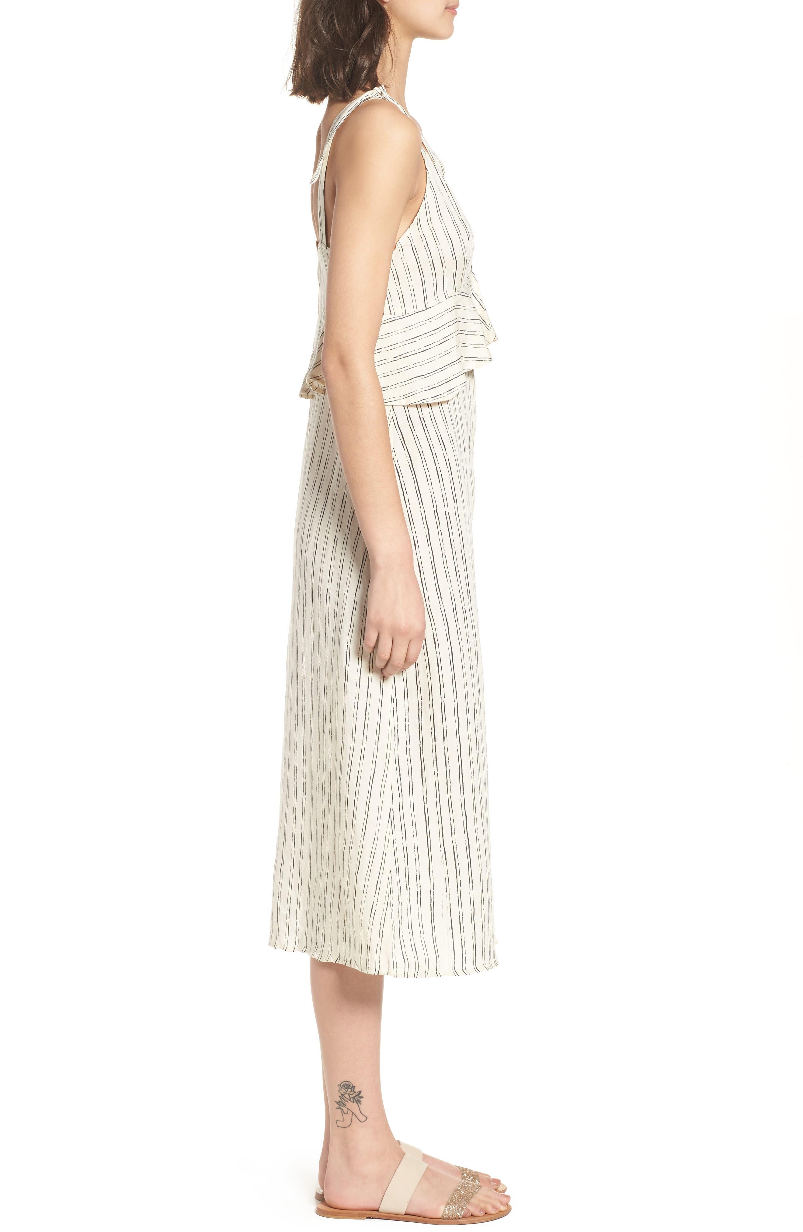Loosen Up Linen Blend Sundress,                             Alternate thumbnail 3, color,                             White Cap
