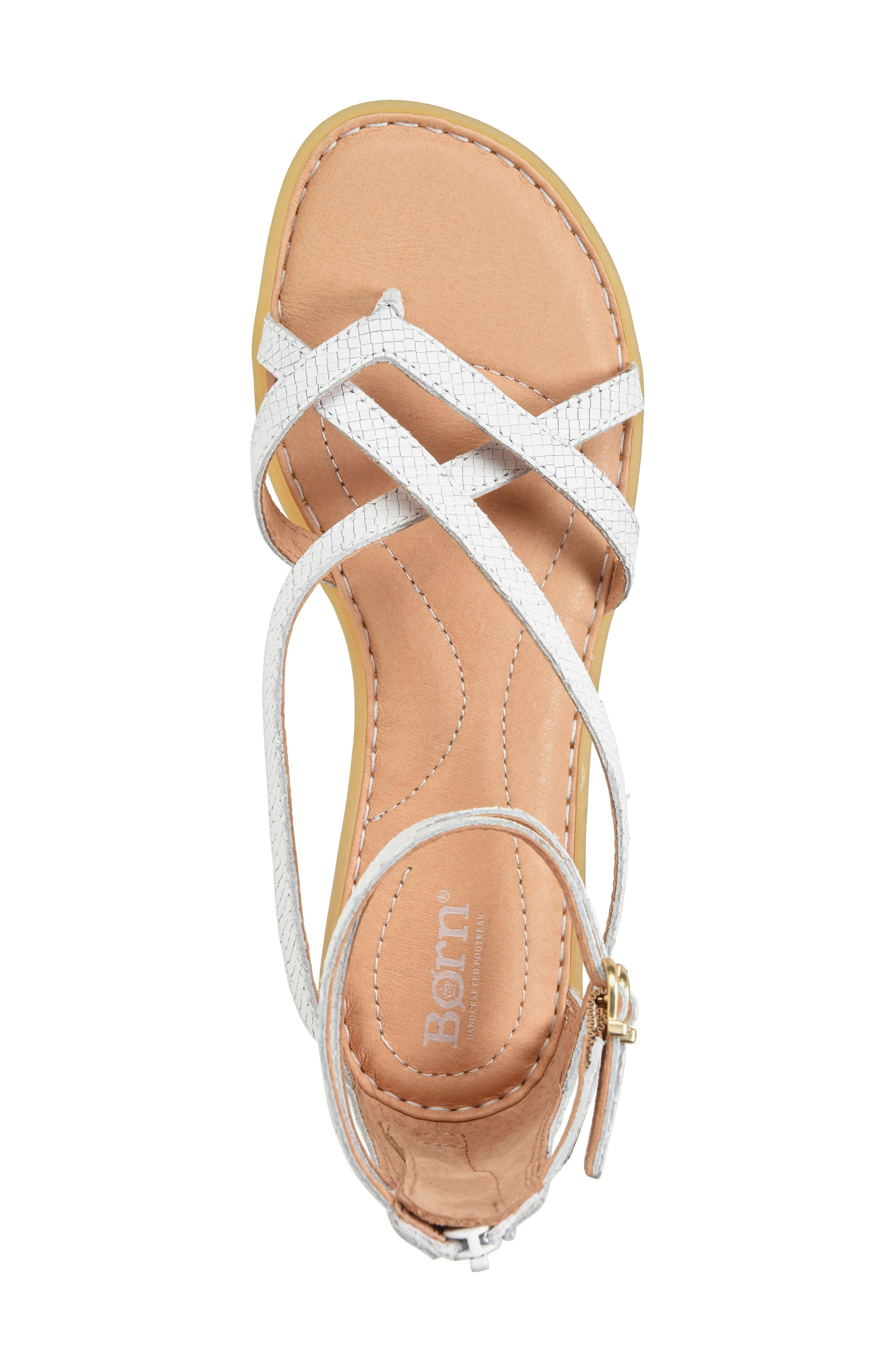 Mai Gladiator Sandal,                             Alternate thumbnail 5, color,                             White Leather