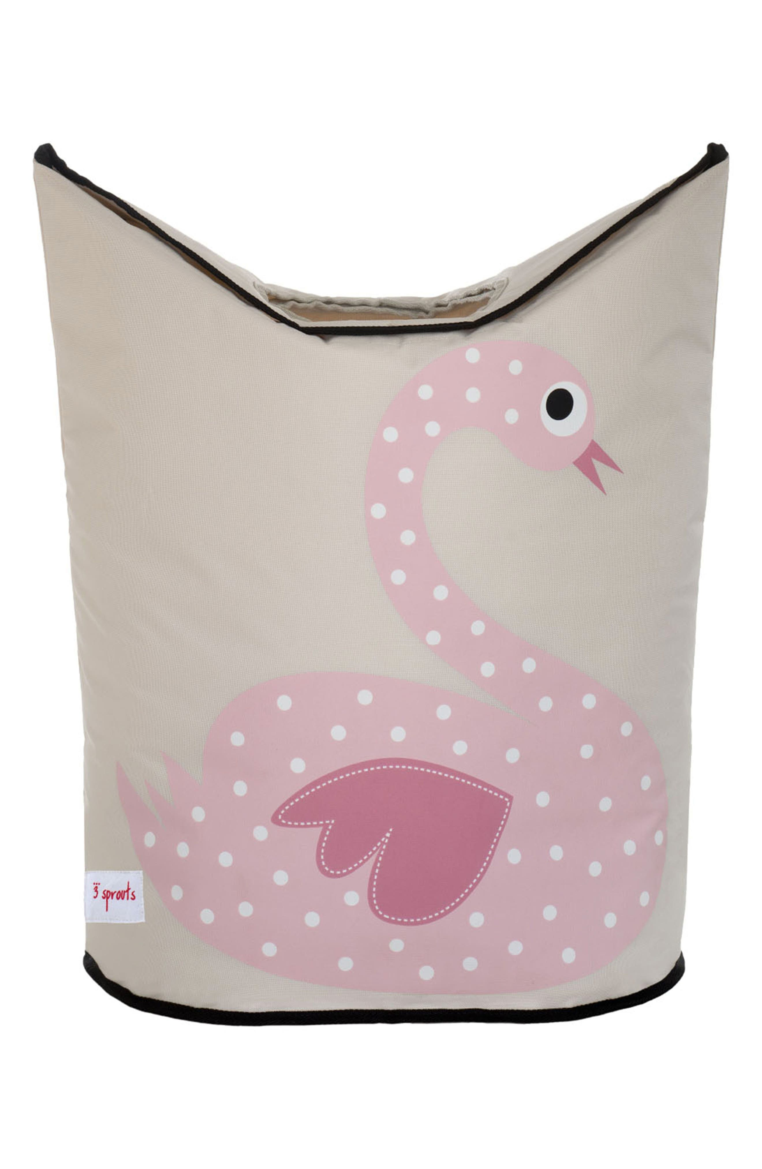 Swan Canvas Laundry Hamper,                         Main,                         color, Pink