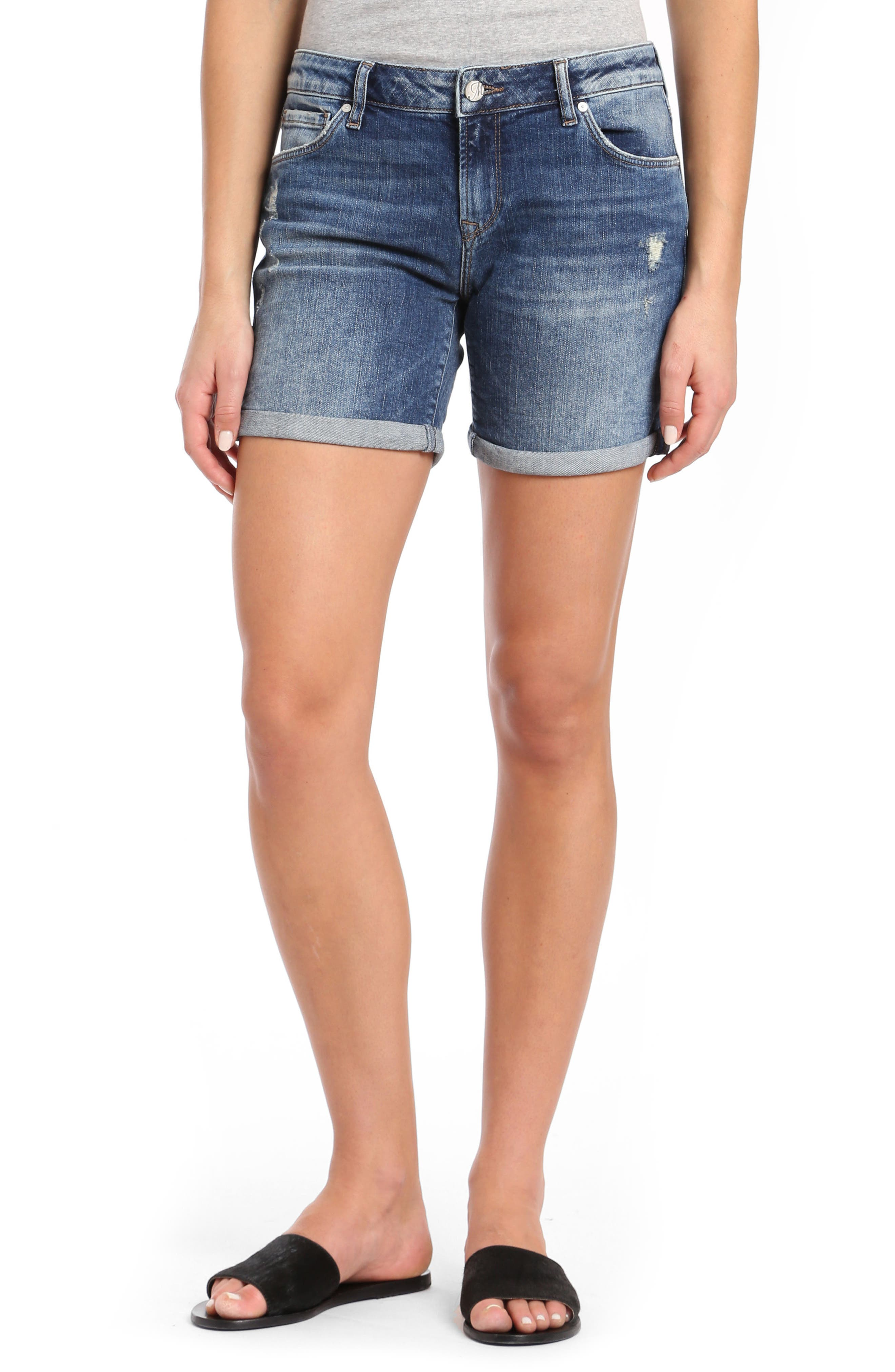 Pixie Denim Shorts,                         Main,                         color, Dark Vintage