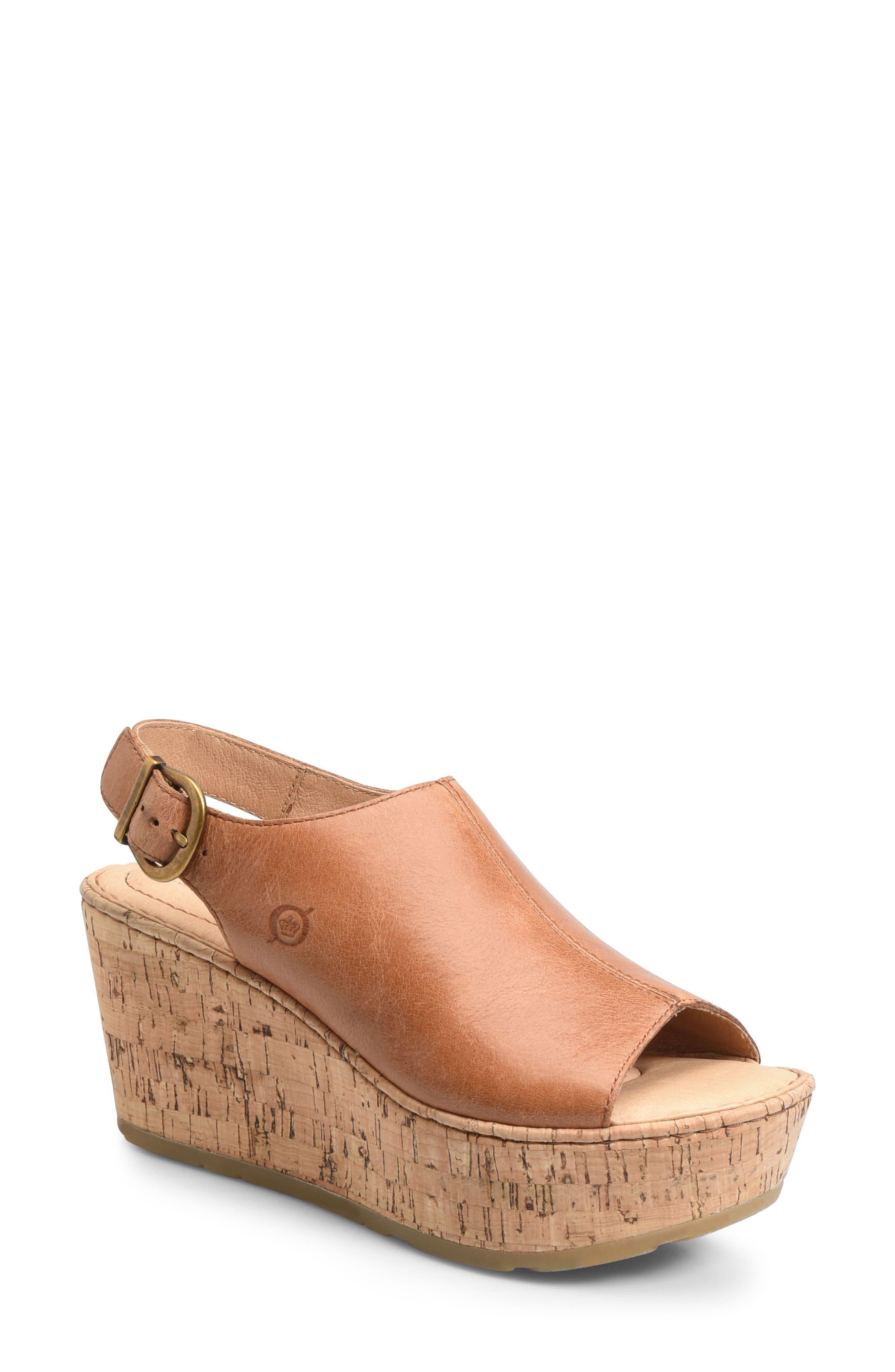Orbit Platform Wedge Sandal,                             Main thumbnail 1, color,                             Brown Leather