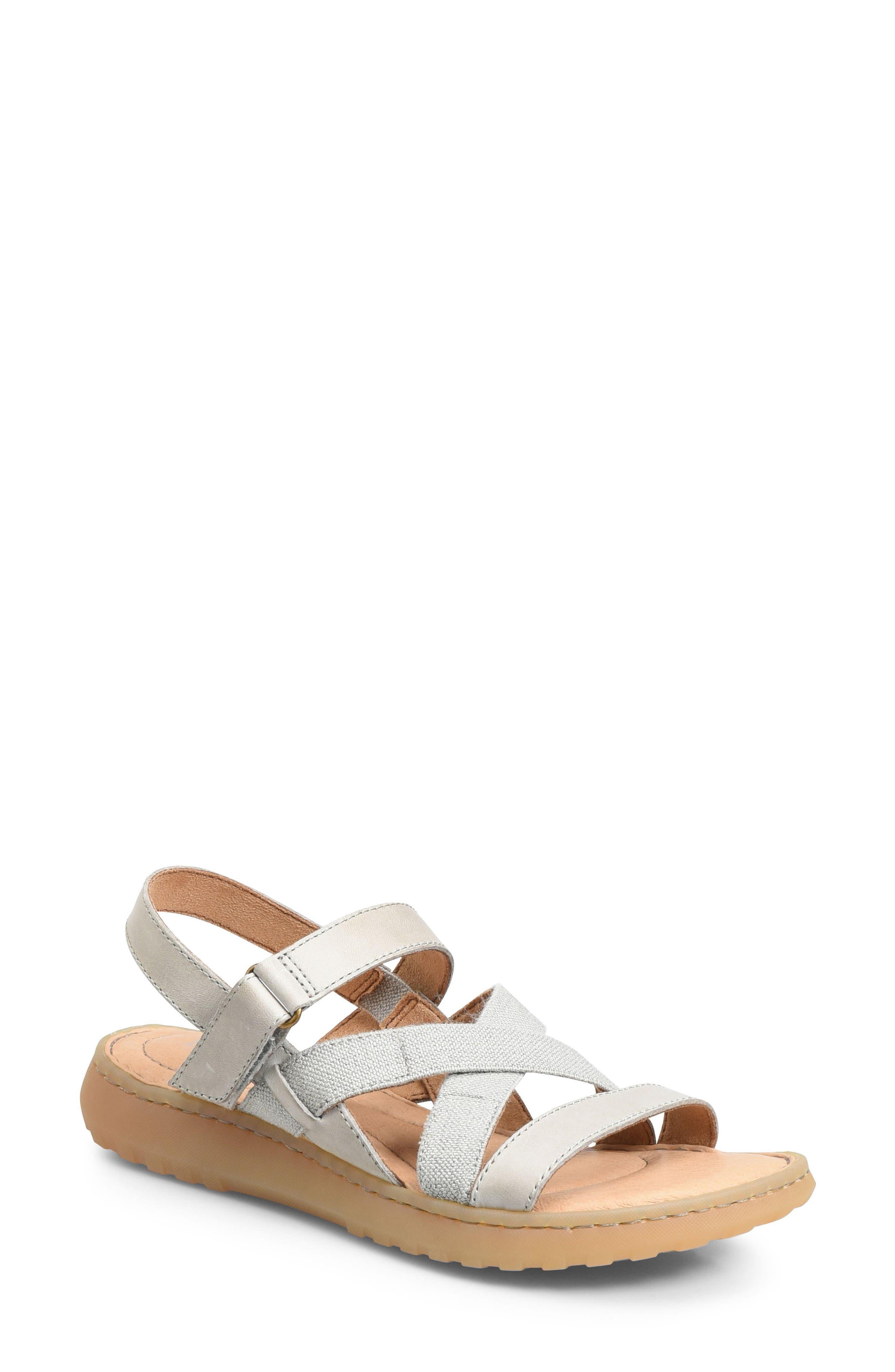Manta Sandal,                         Main,                         color, Light Grey Leather