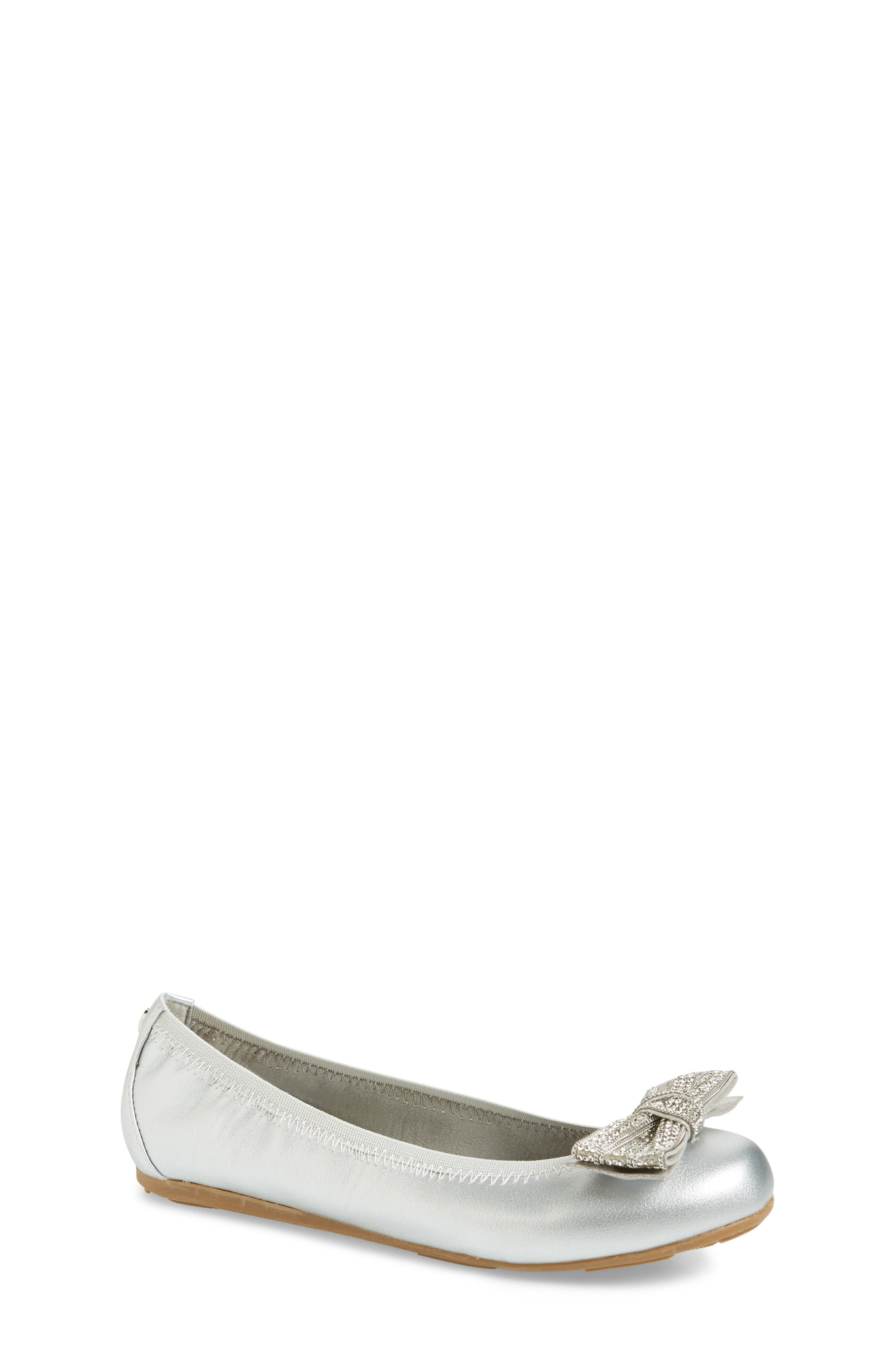 Fannie Embellished Bow Ballet Flat,                         Main,                         color, Silver