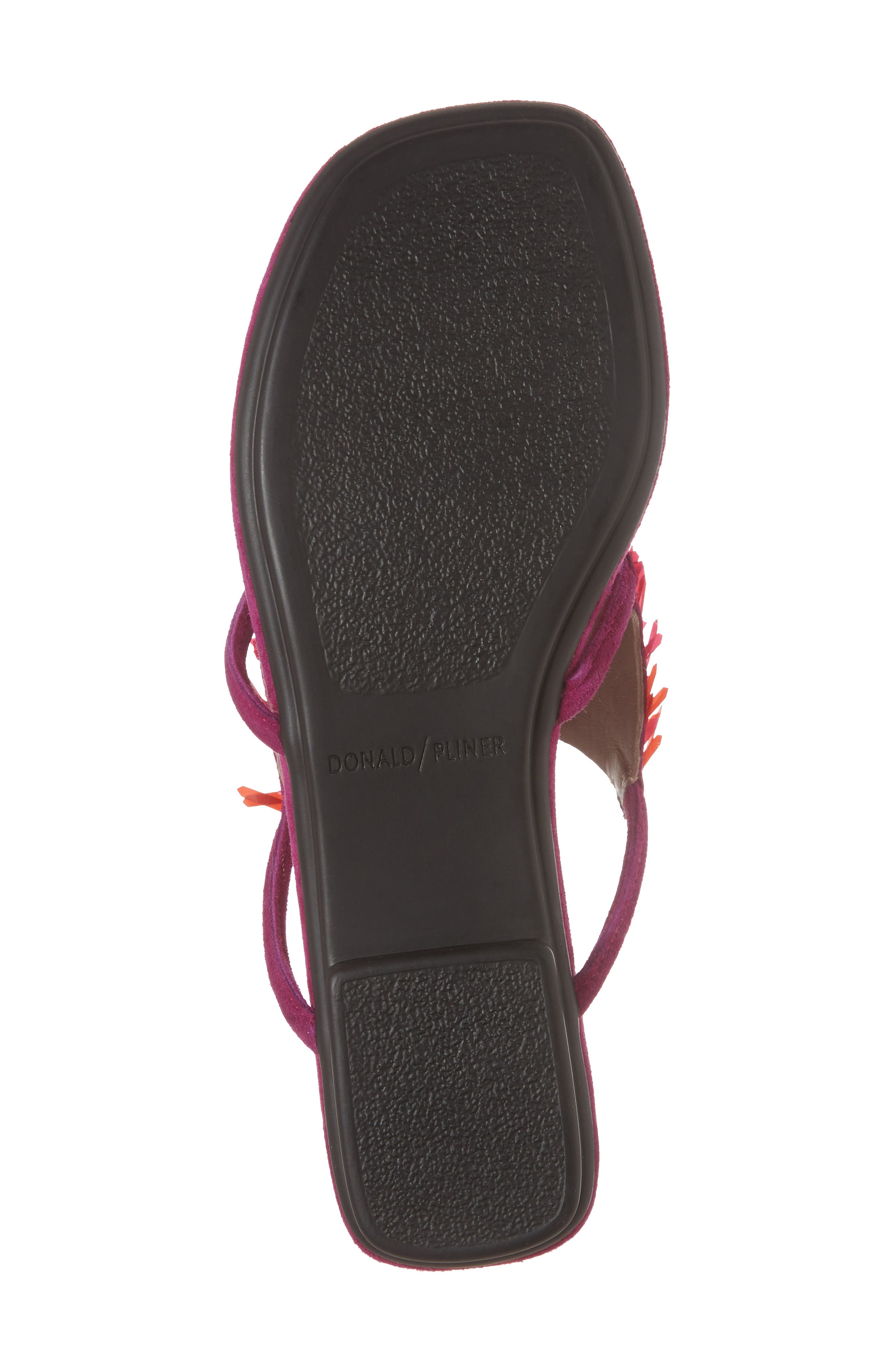 Kya Feather Sequin Sandal,                             Alternate thumbnail 6, color,                             Magenta Leather