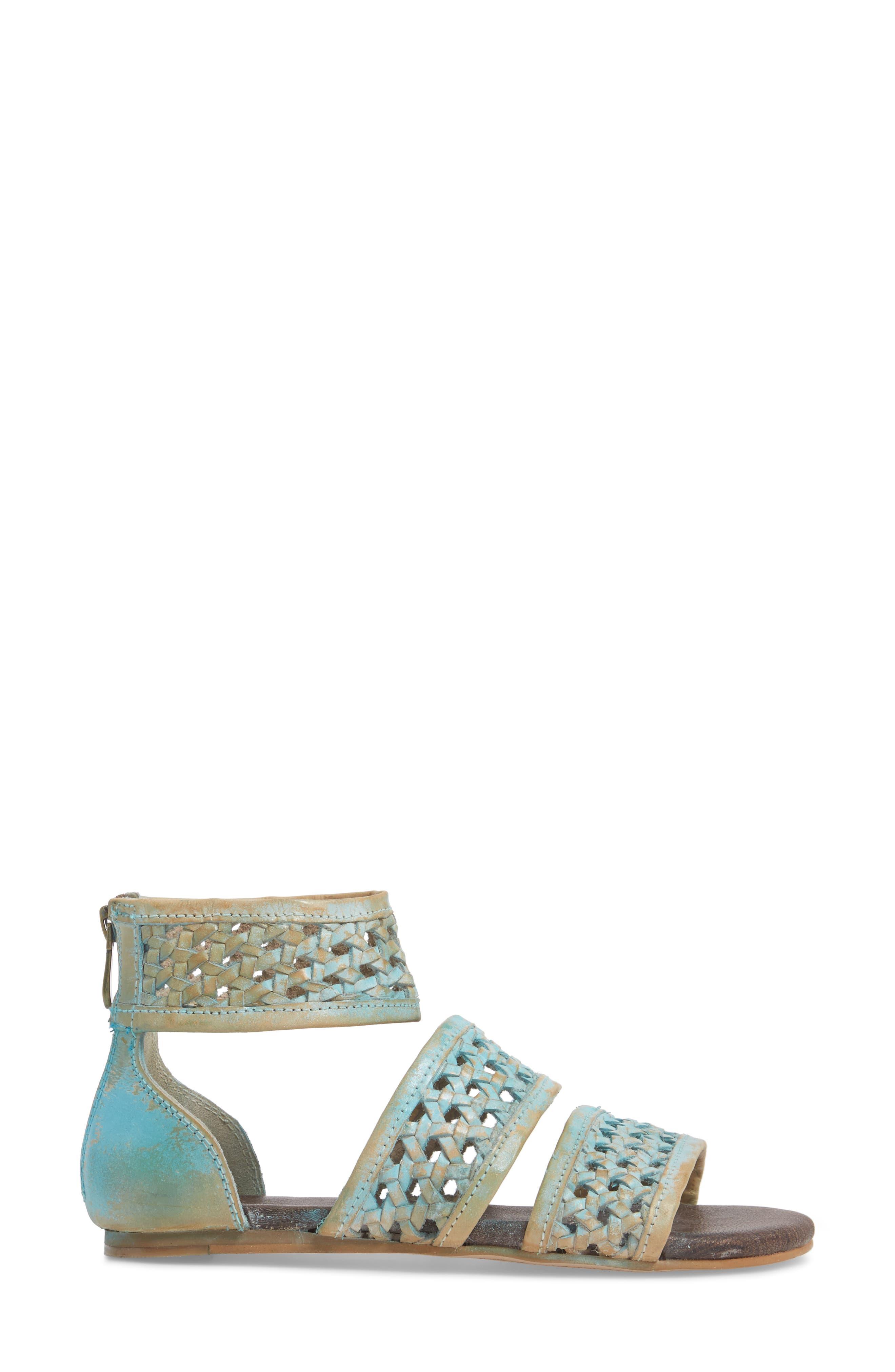 Clio Woven Ankle Cuff Sandal,                             Alternate thumbnail 3, color,                             Blue