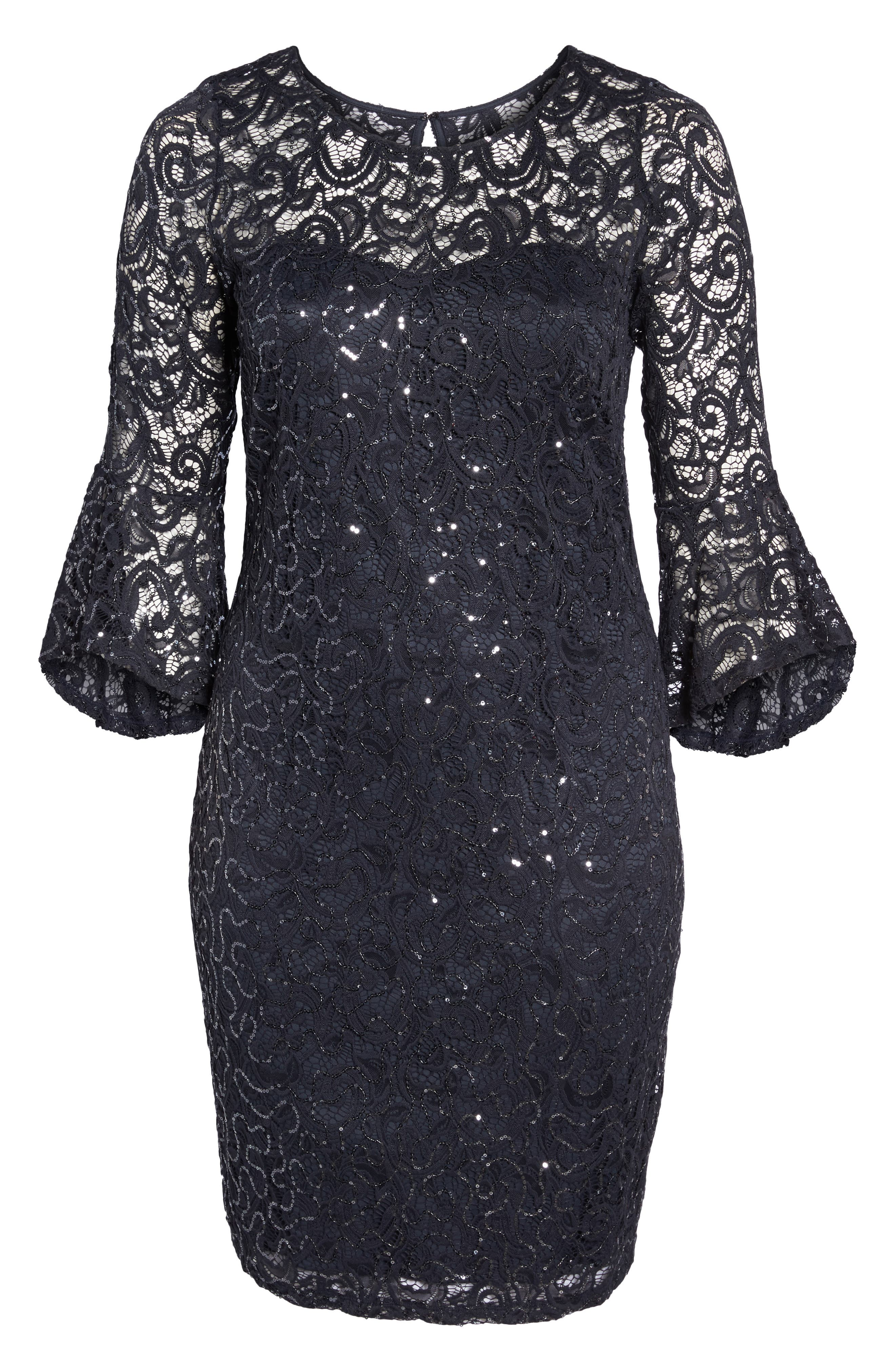 Sequin Lace Bell Sleeve Dress,                             Alternate thumbnail 6, color,                             Gunmetal