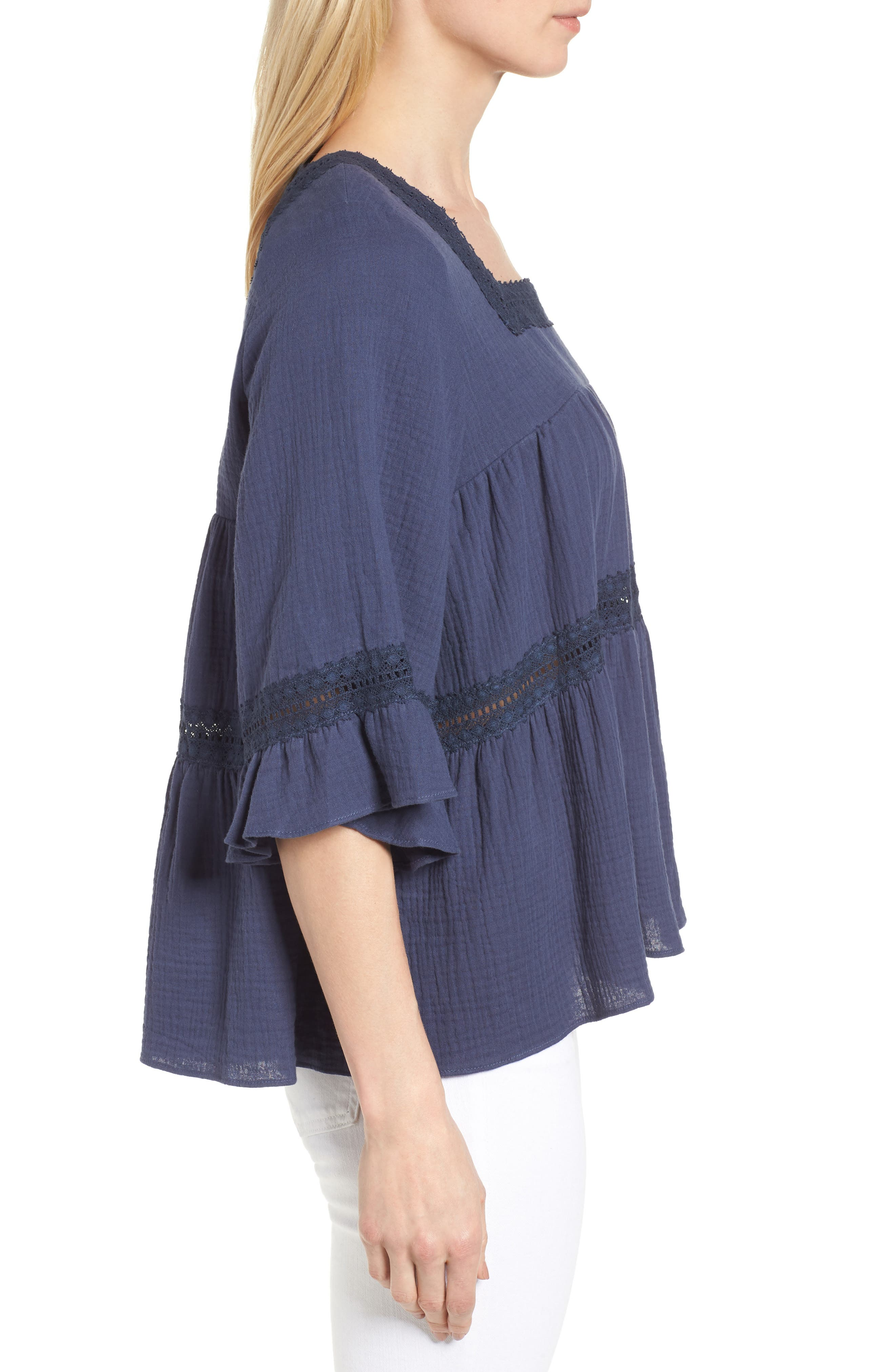 Lace Trim Blouse,                             Alternate thumbnail 3, color,                             Navy Indigo
