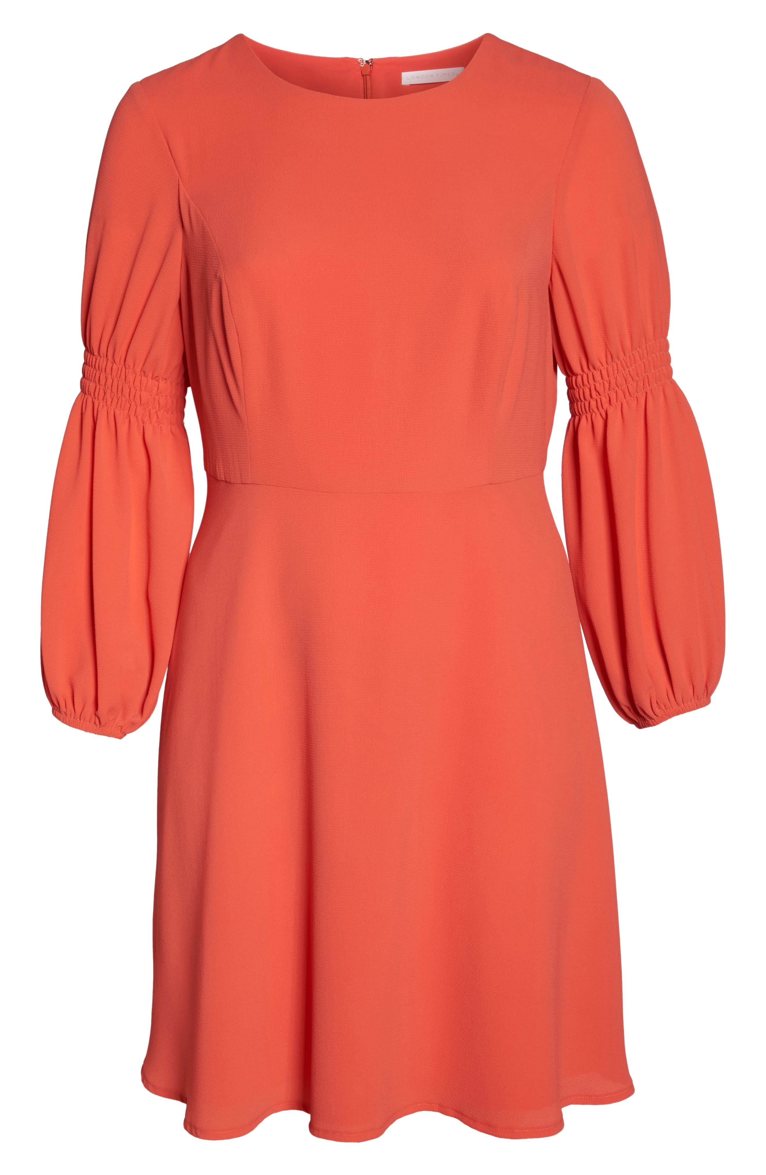 Smocked Puff Sleeve Fit & Flare Dress,                             Alternate thumbnail 6, color,                             Begonia