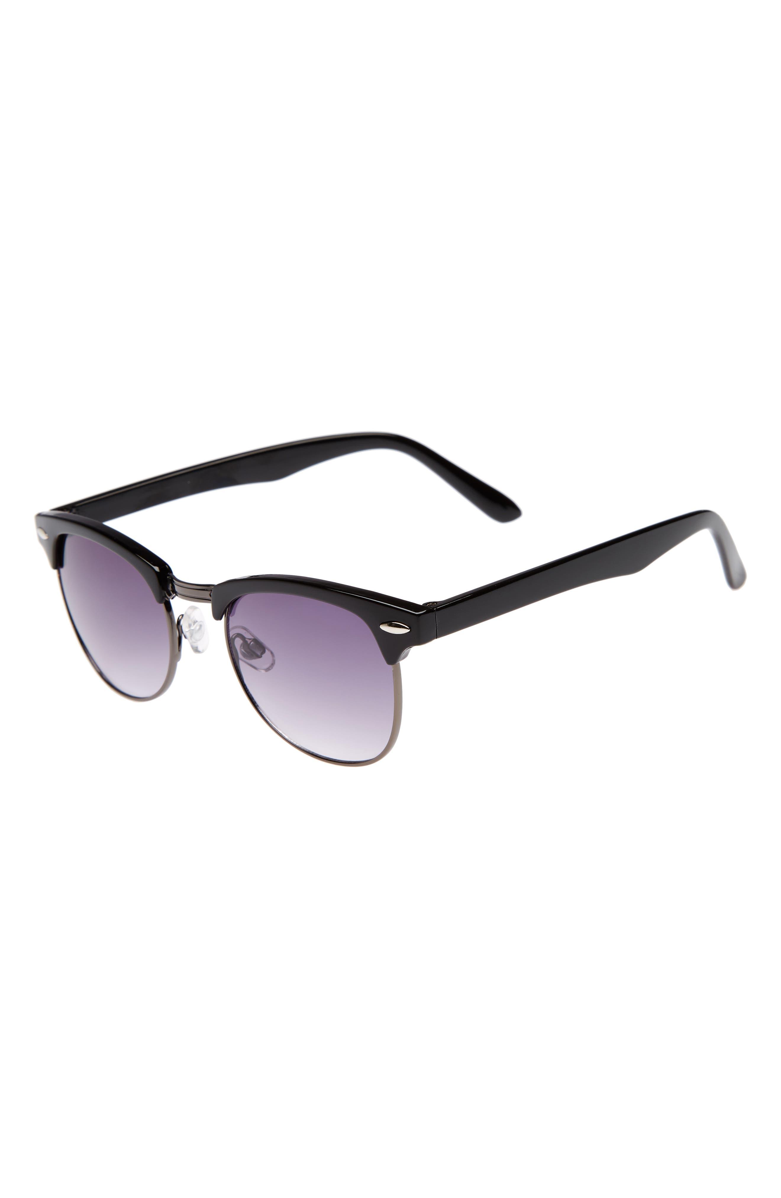 Horn Rimmed Sunglasses,                         Main,                         color, Black/ Gunmetal