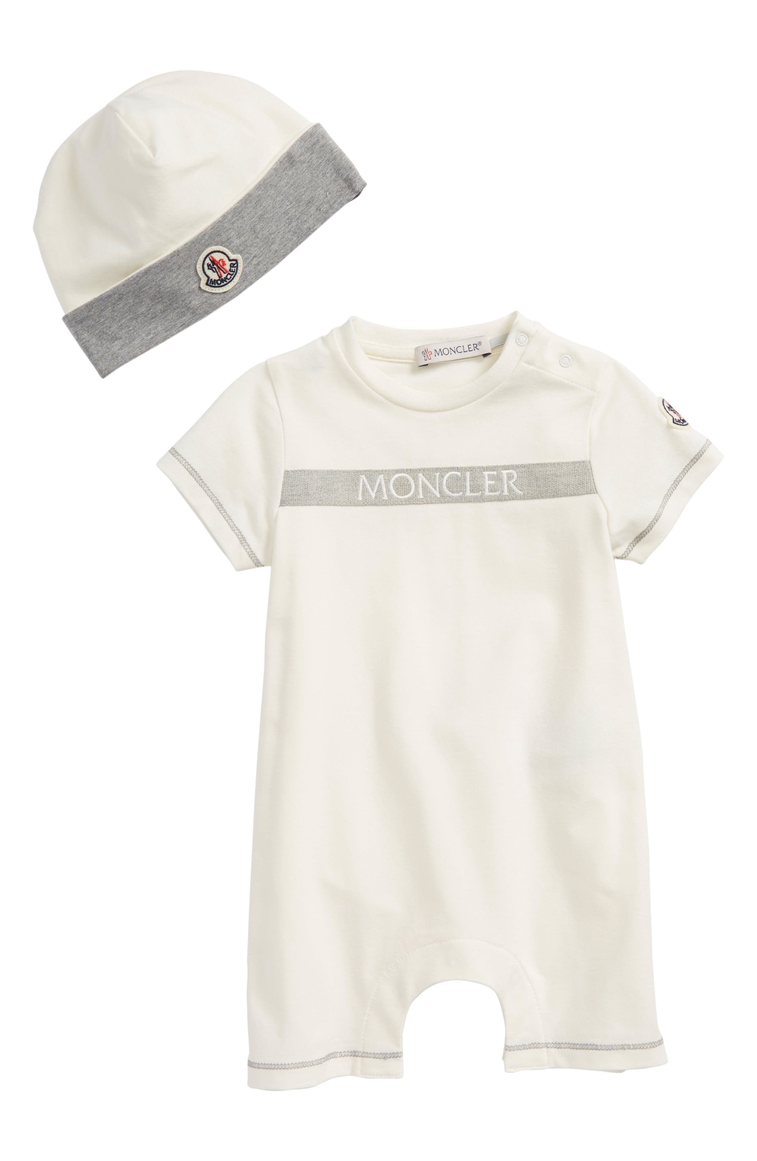 Short Romper & Beanie Gift Set,                         Main,                         color, Off White
