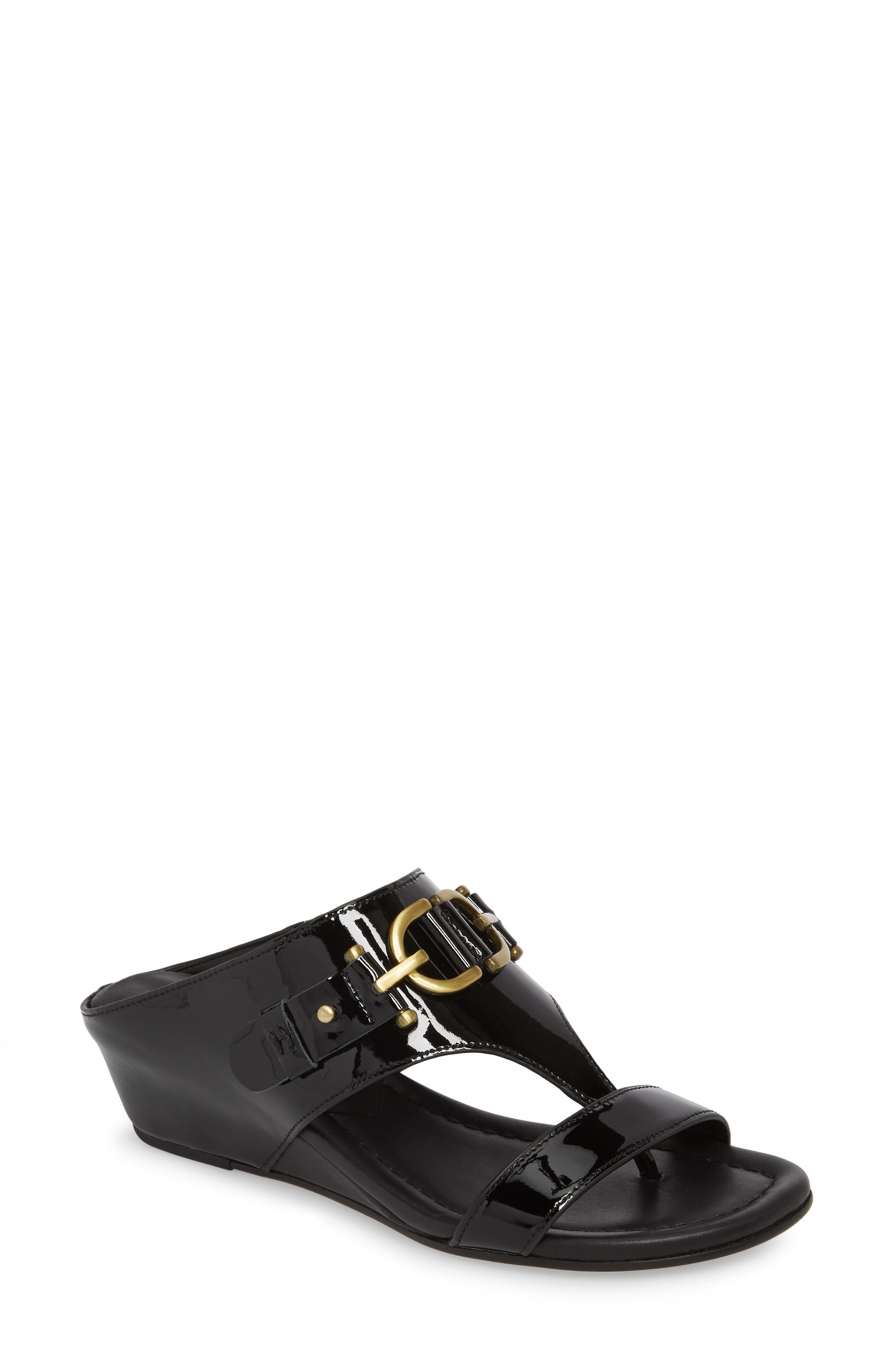 Dayna Wedge Sandal,                         Main,                         color, Black Leather