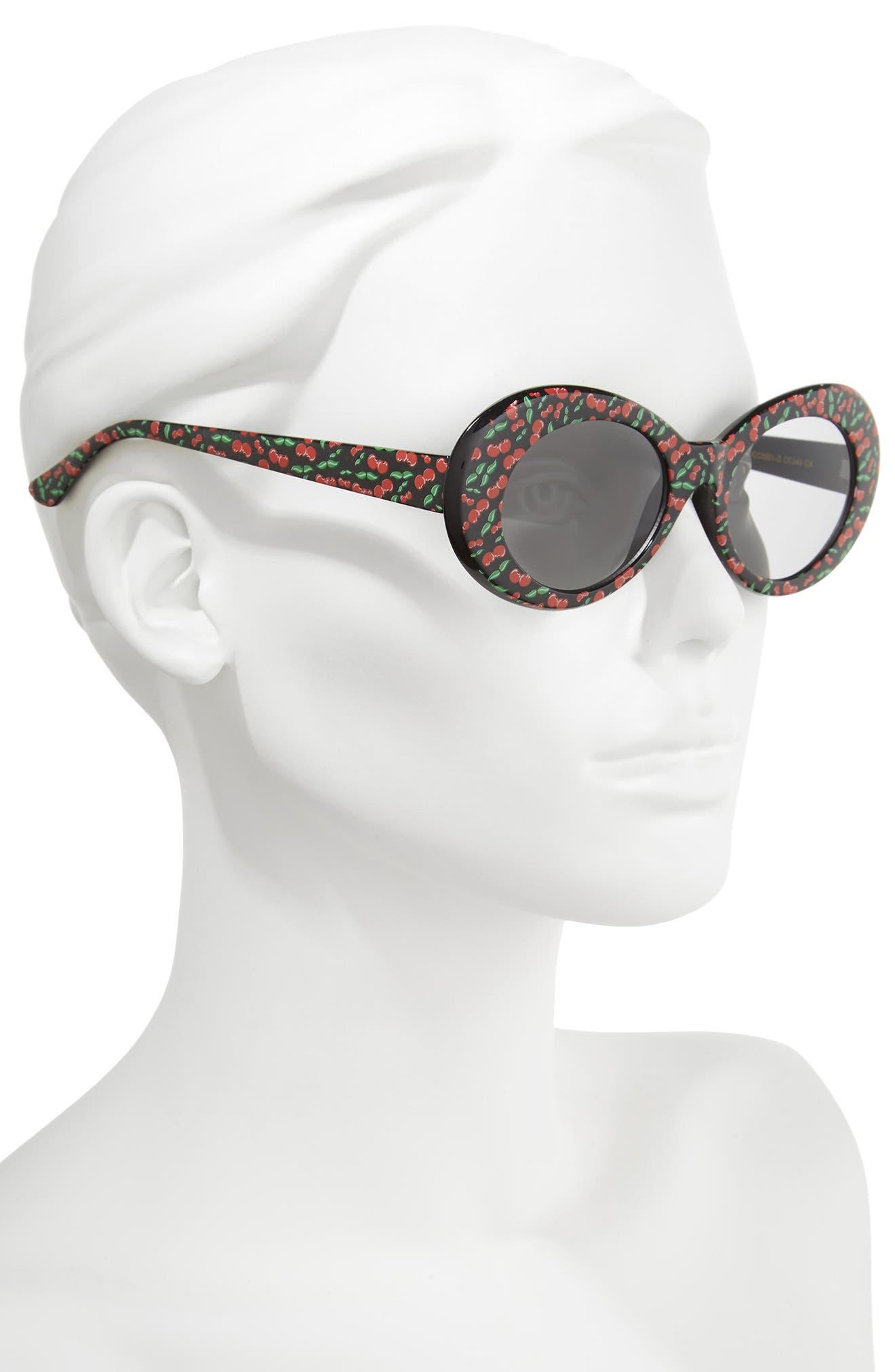 50mm Cherry Print Oval Sunglasses,                             Alternate thumbnail 2, color,                             Black/ Cherry Print
