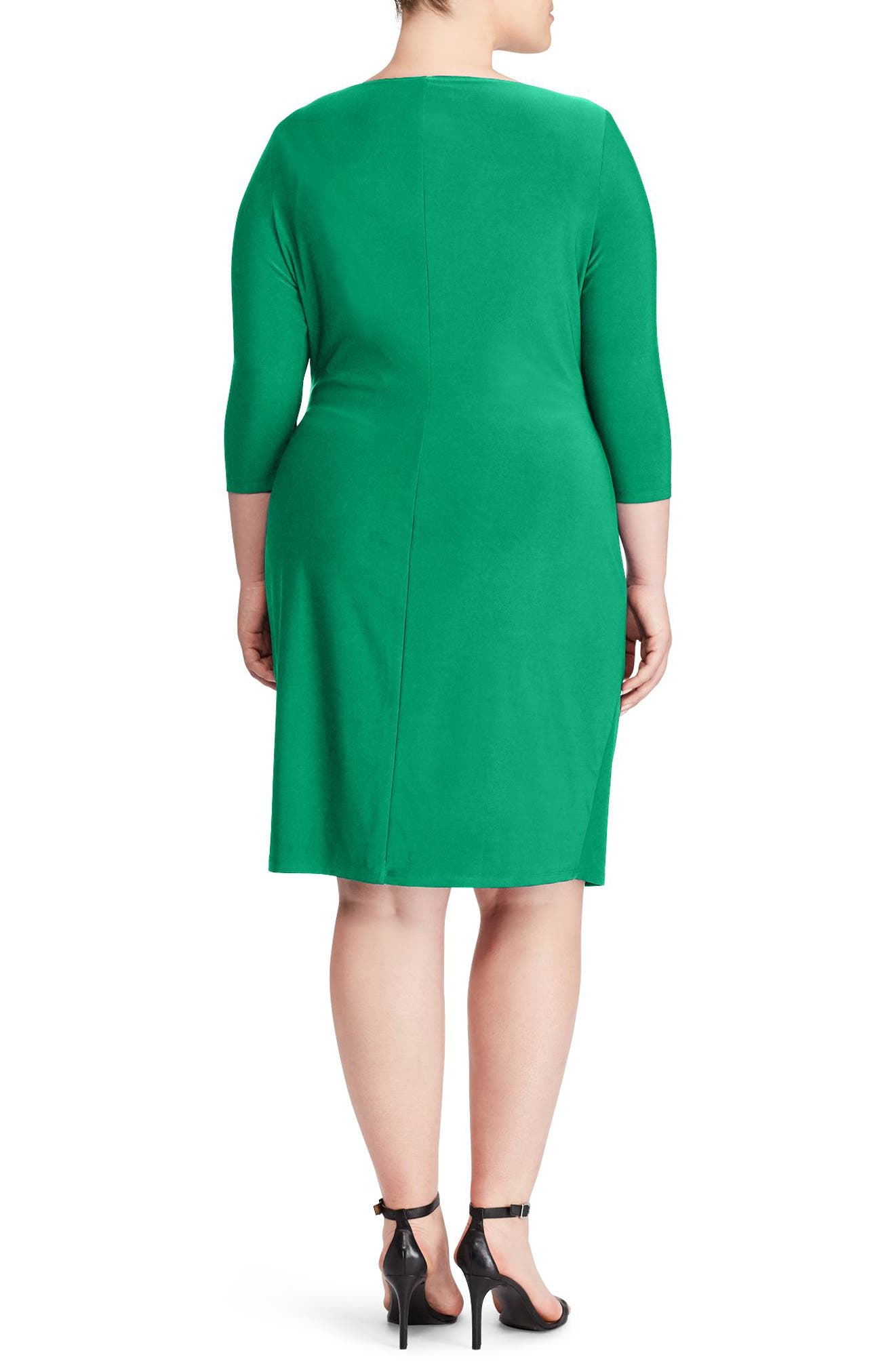 Ruched Jersey Dress,                             Alternate thumbnail 2, color,                             Argentine Emerald