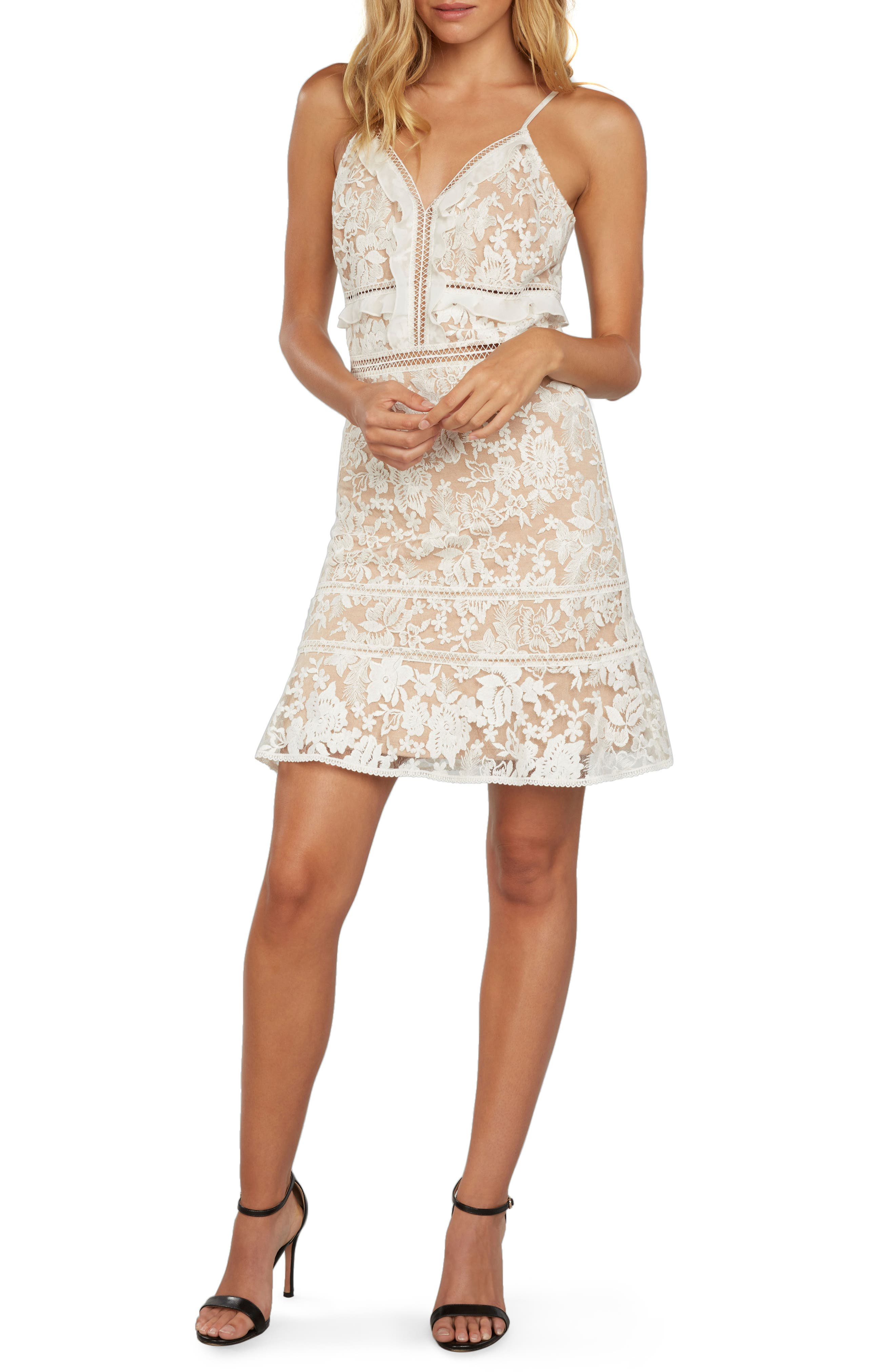 Embroidered Mesh Minidress,                         Main,                         color, Ivory