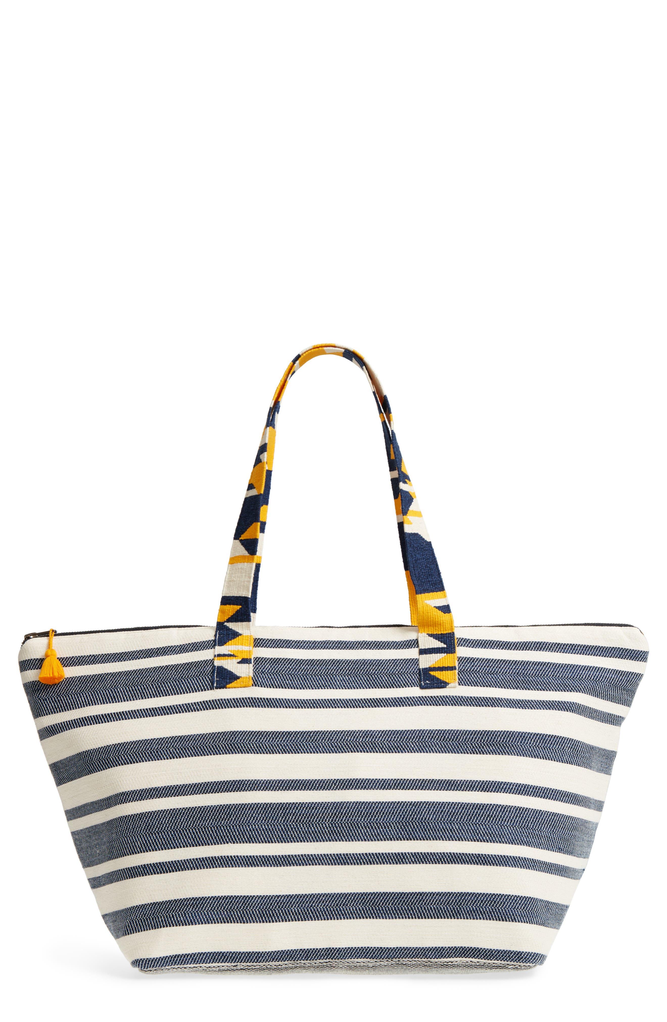 Iris Beach Bag,                             Main thumbnail 1, color,                             Sungold Denim Twill