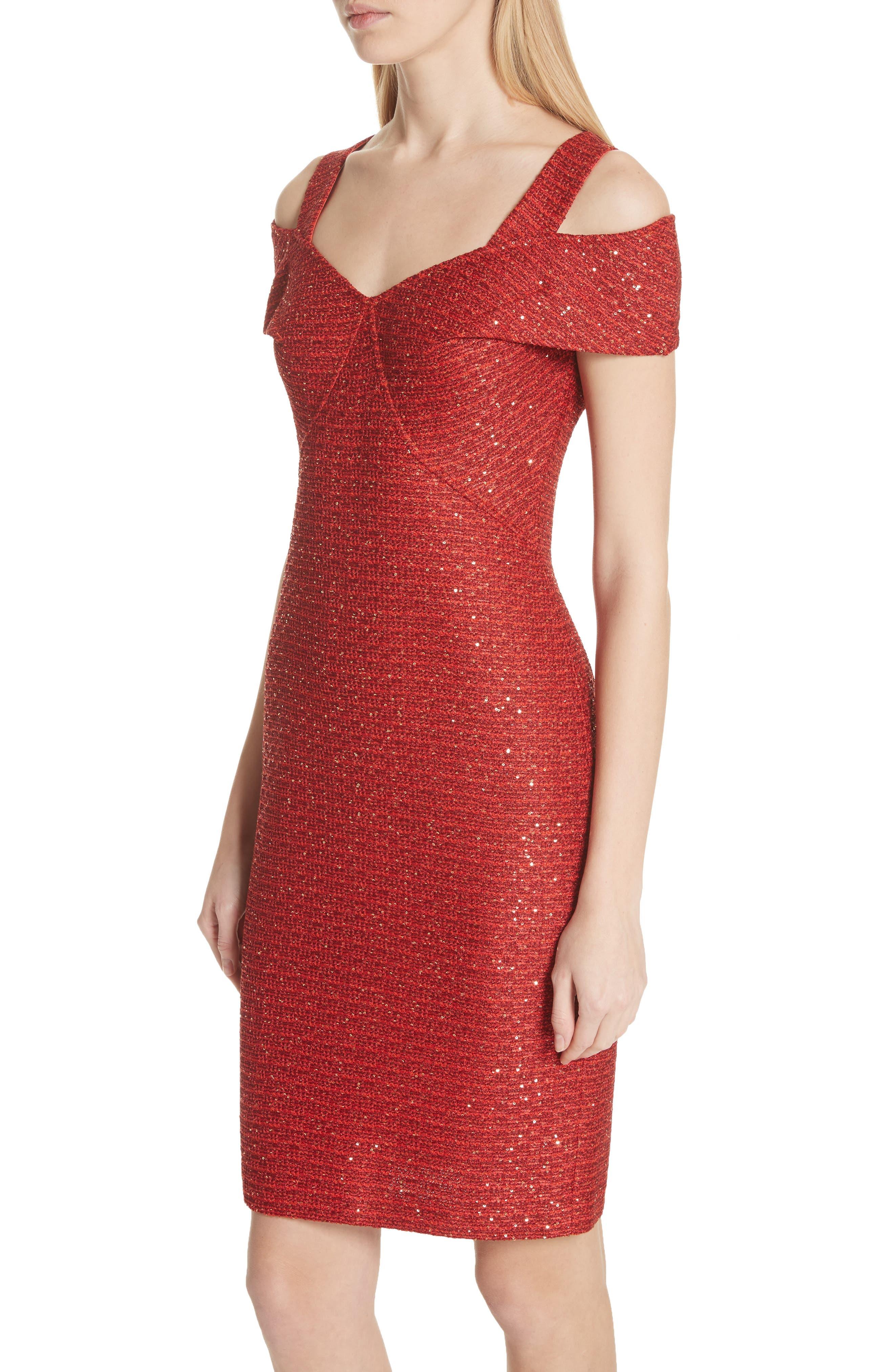 Glamour Sequin Knit Cold Shoulder Dress,                             Alternate thumbnail 4, color,                             Sienna Multi