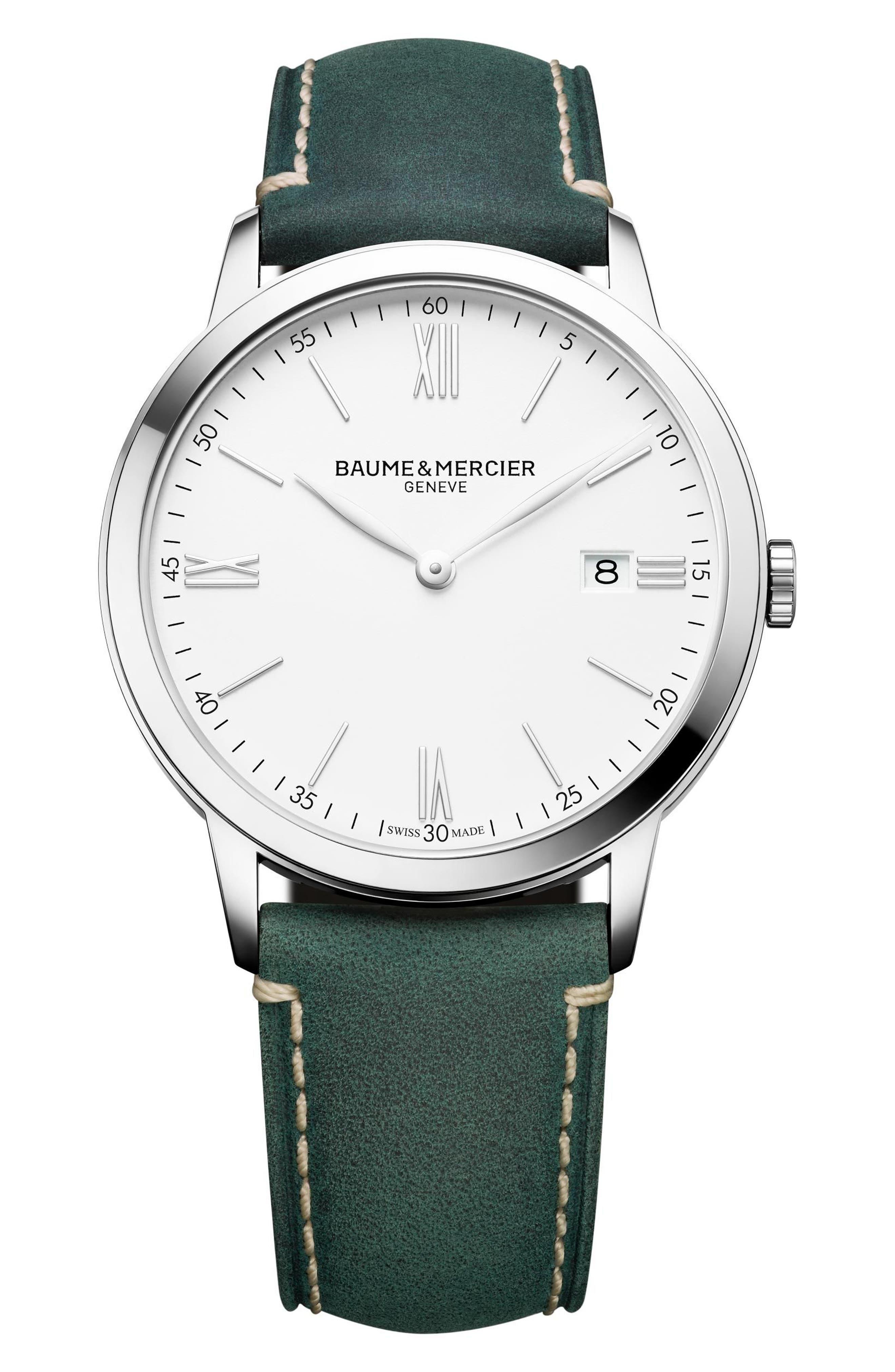 Baume & Mercier Watch, 40mm,                             Main thumbnail 1, color,                             White/ Green