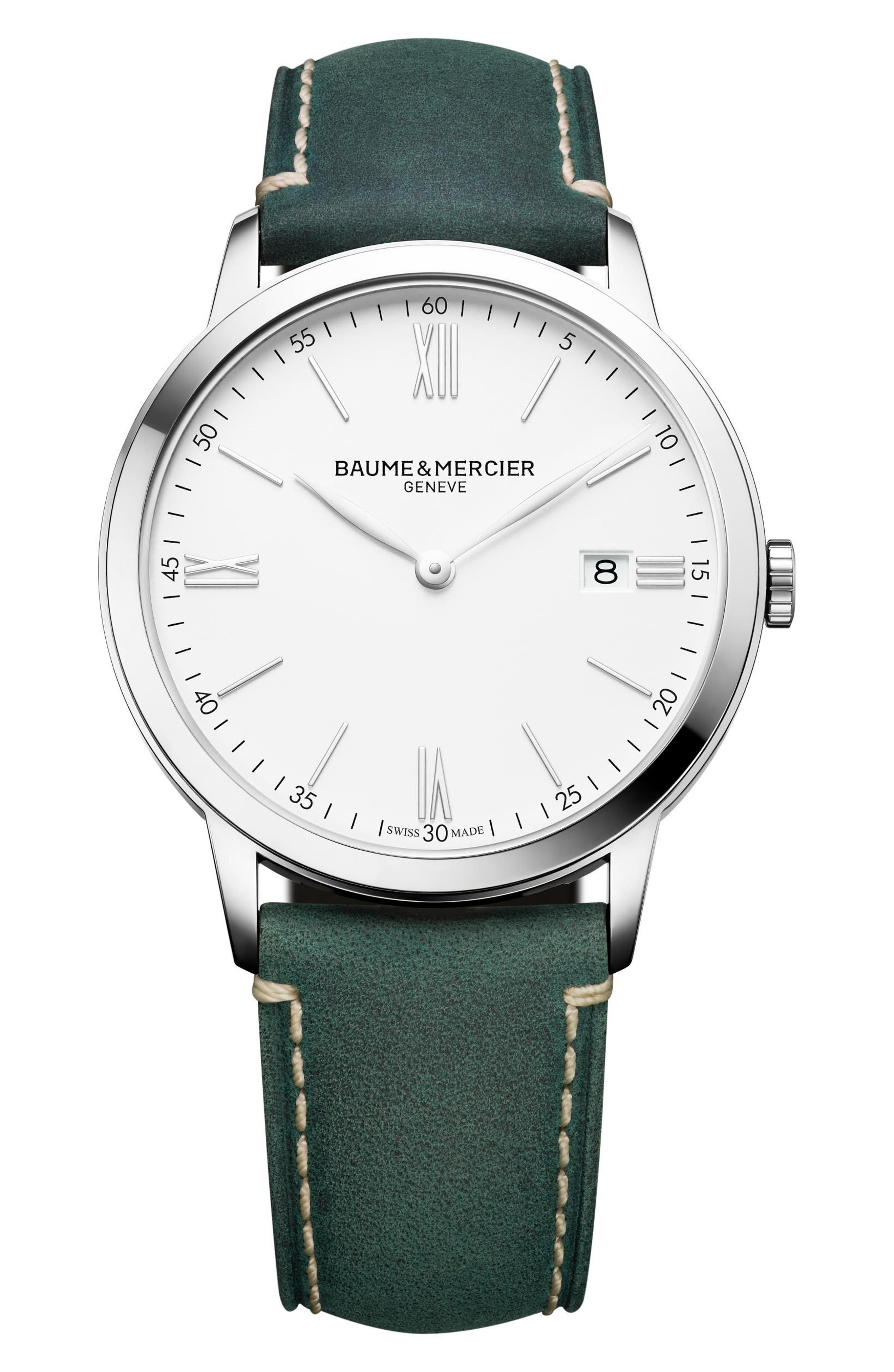 Baume & Mercier Watch, 40mm,                         Main,                         color, White/ Green