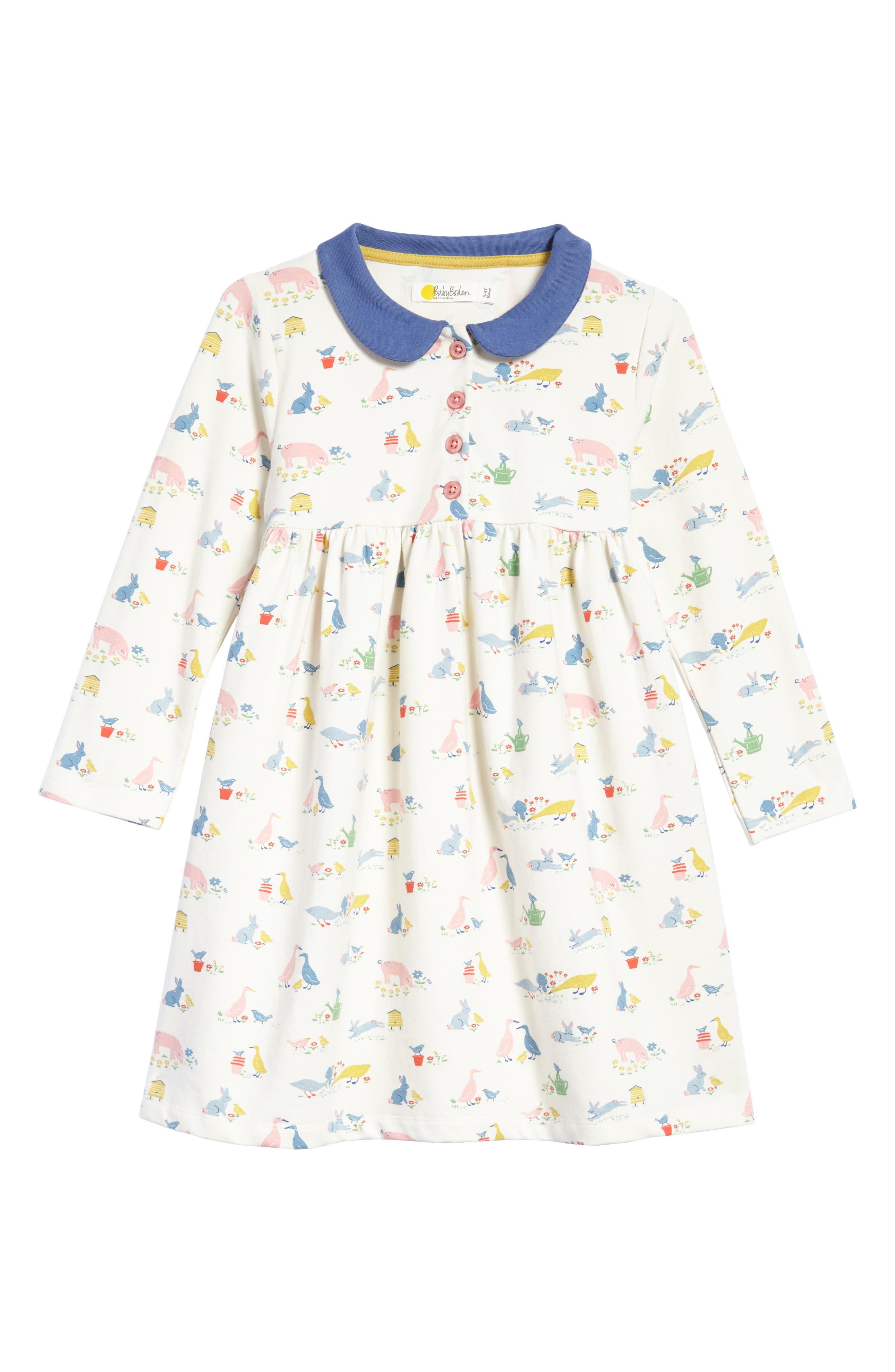 Jersey Dress,                         Main,                         color, Farmyard Animals