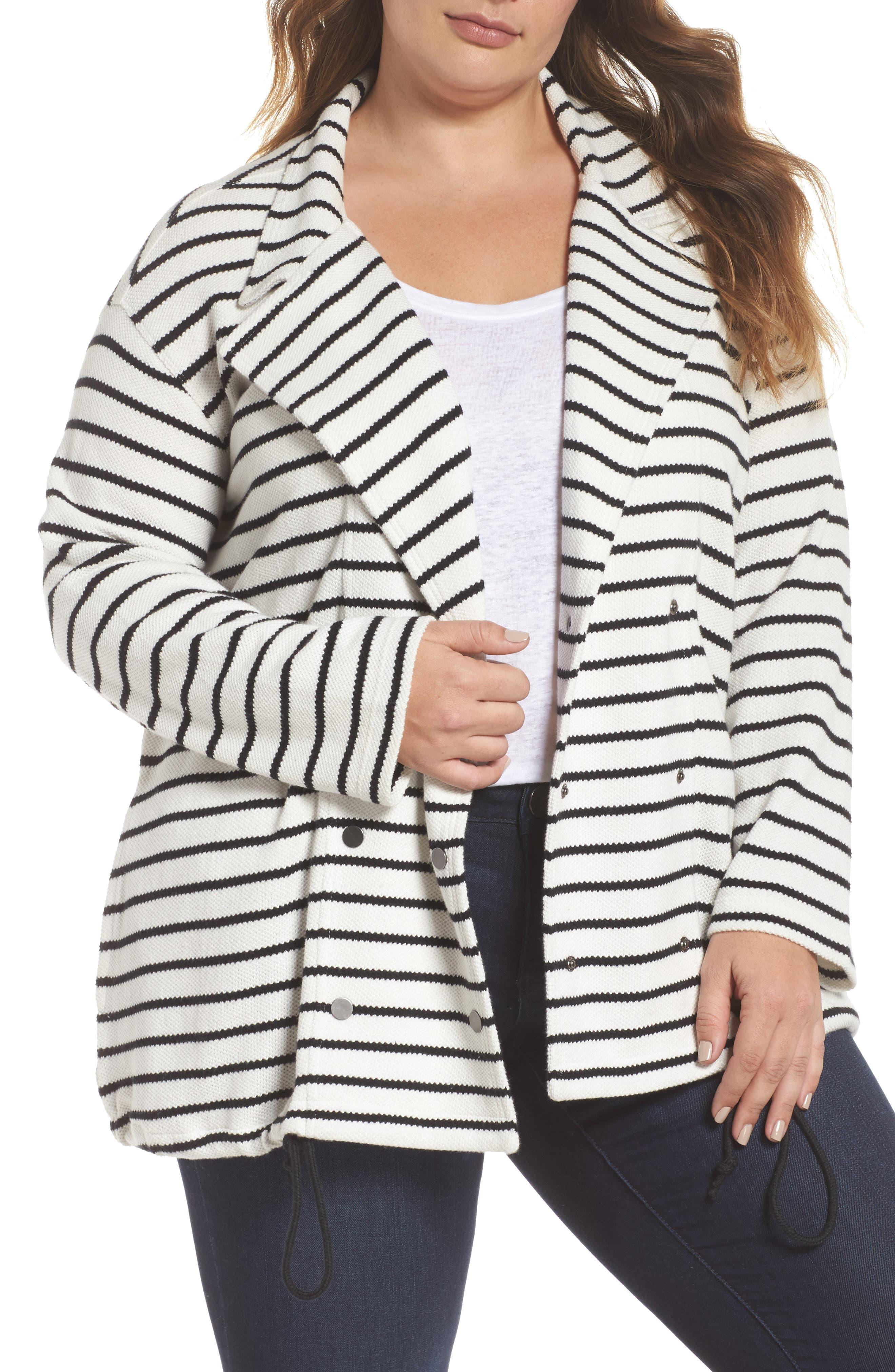 Stripe Peacoat Knit Jacket,                             Main thumbnail 1, color,                             Ivory- Black Stripe