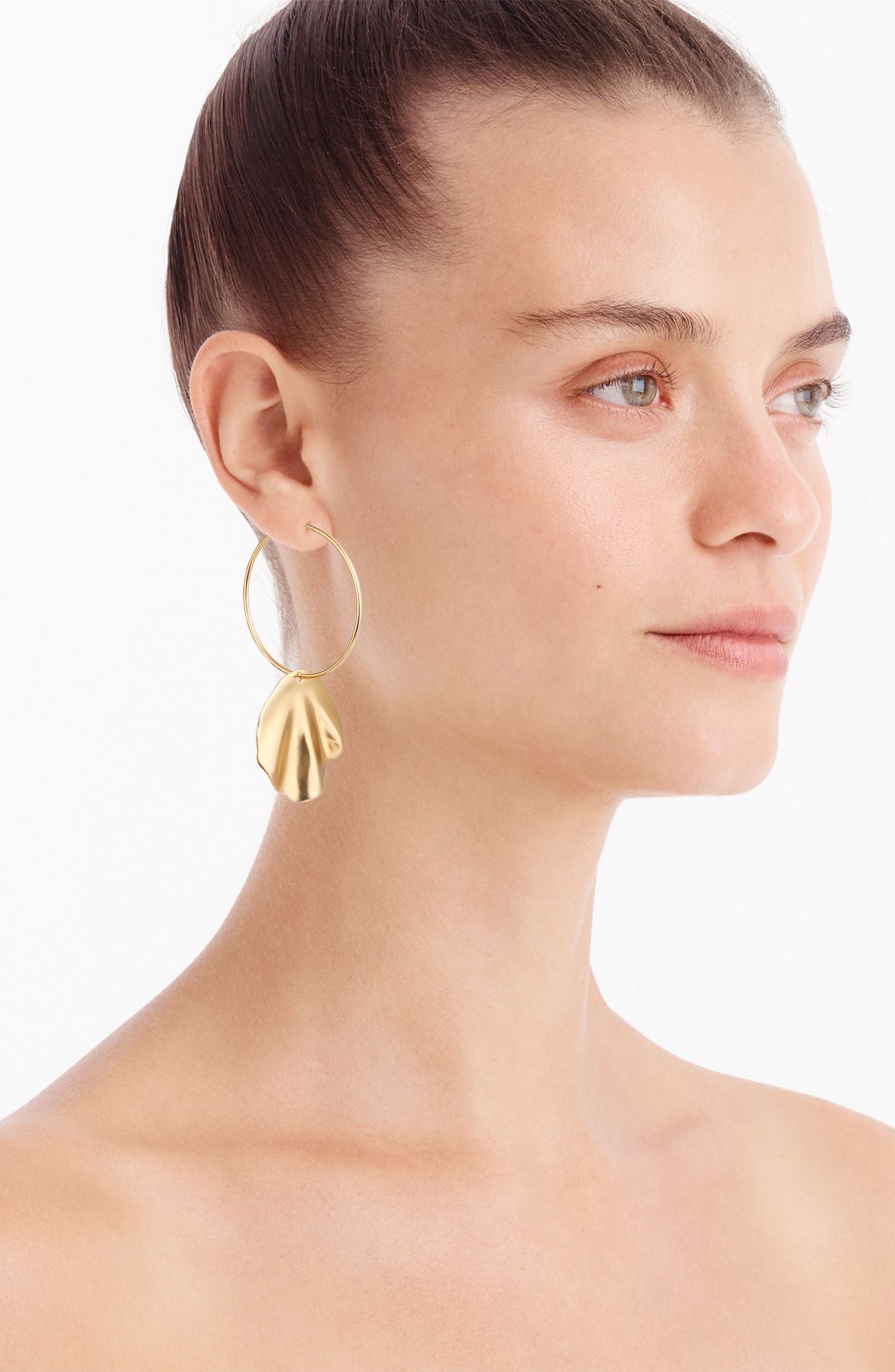 Shell Hoop Earrings,                             Alternate thumbnail 2, color,                             Gold