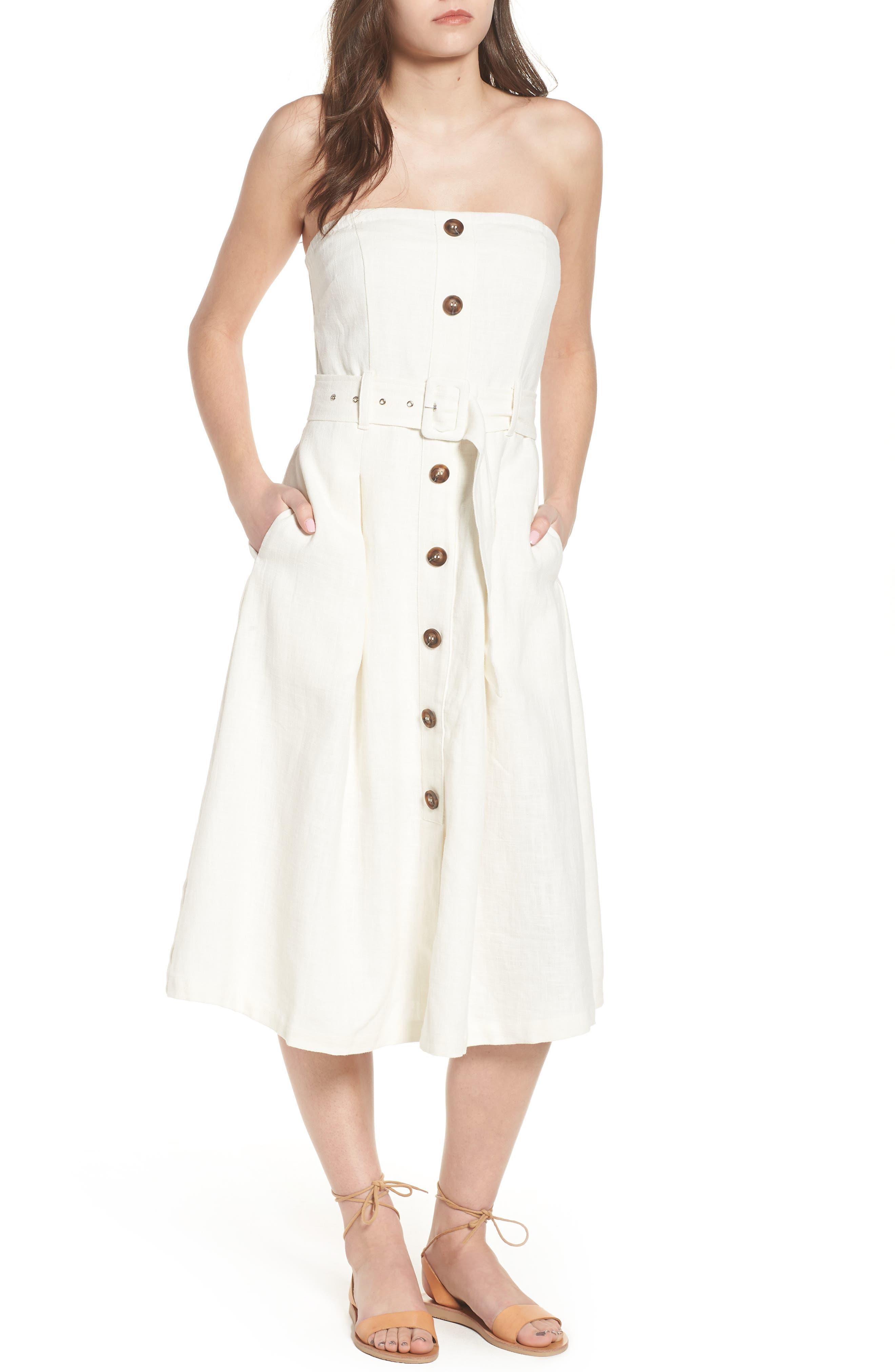Linen & Cotton Strapless Dress,                         Main,                         color, Ivory