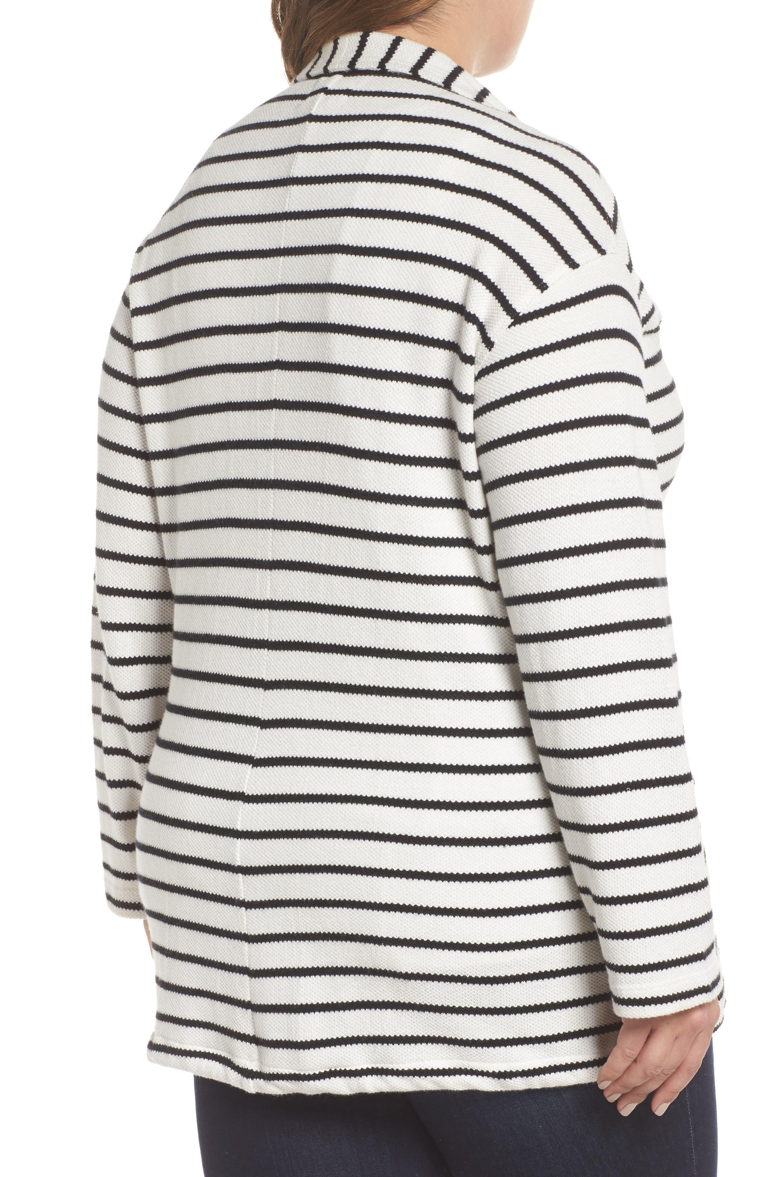 Stripe Peacoat Knit Jacket,                             Alternate thumbnail 2, color,                             Ivory- Black Stripe