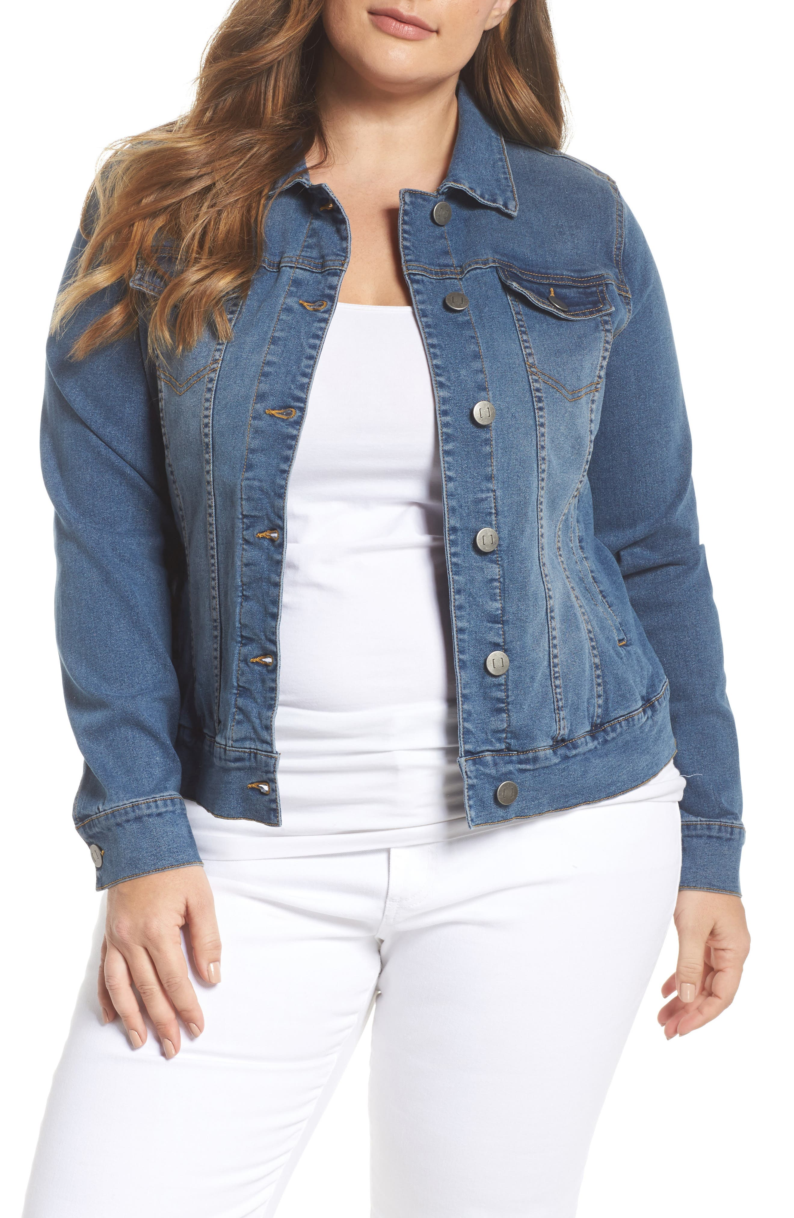 Alternate Image 1 Selected - JUNAROSE Katla Denim Jacket (Plus Size)